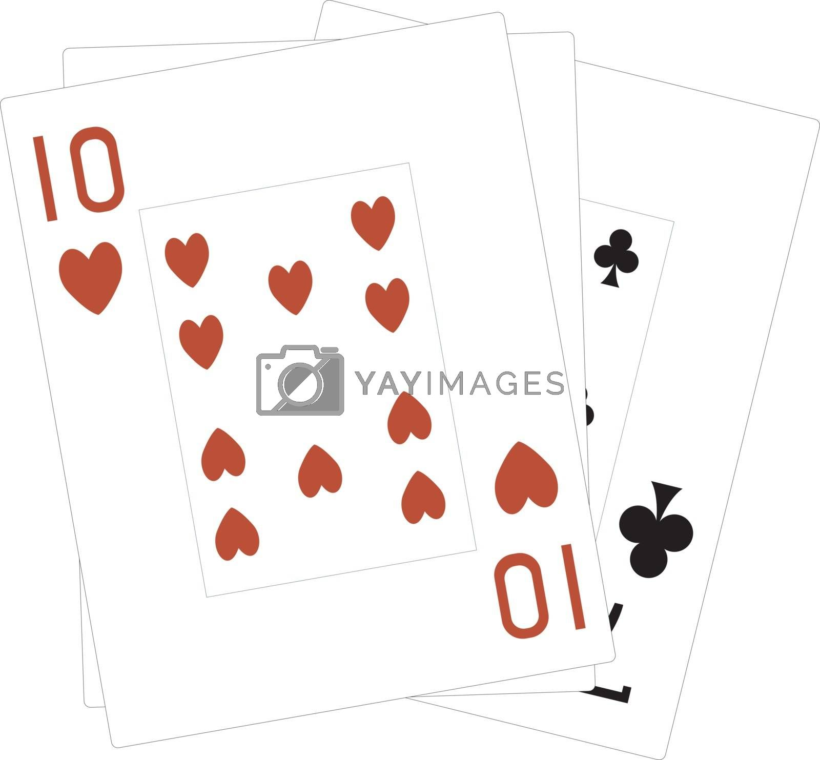 Deck of cards, illustration, vector on white background.