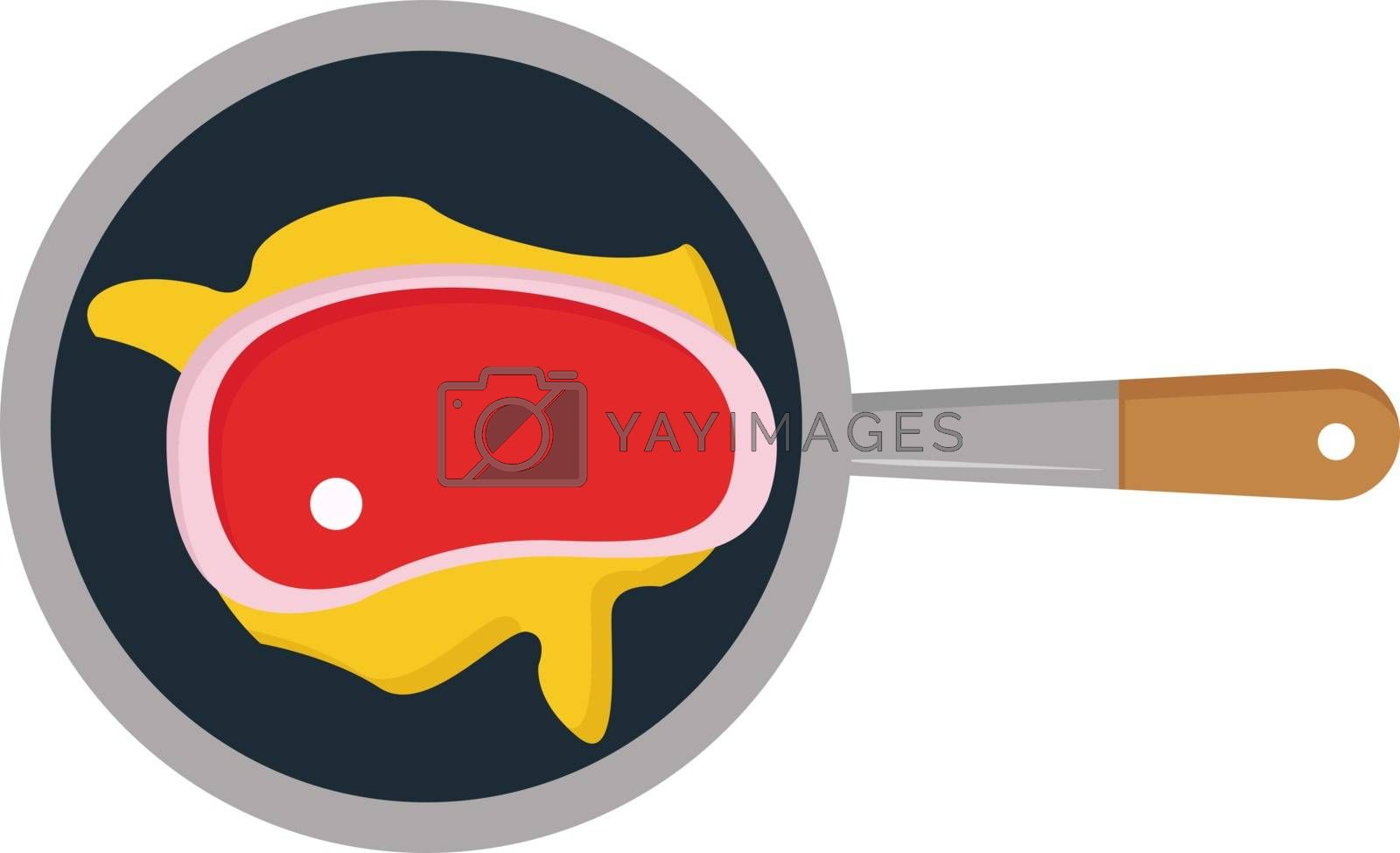 Meat in frying pan, illustration, vector on white background.