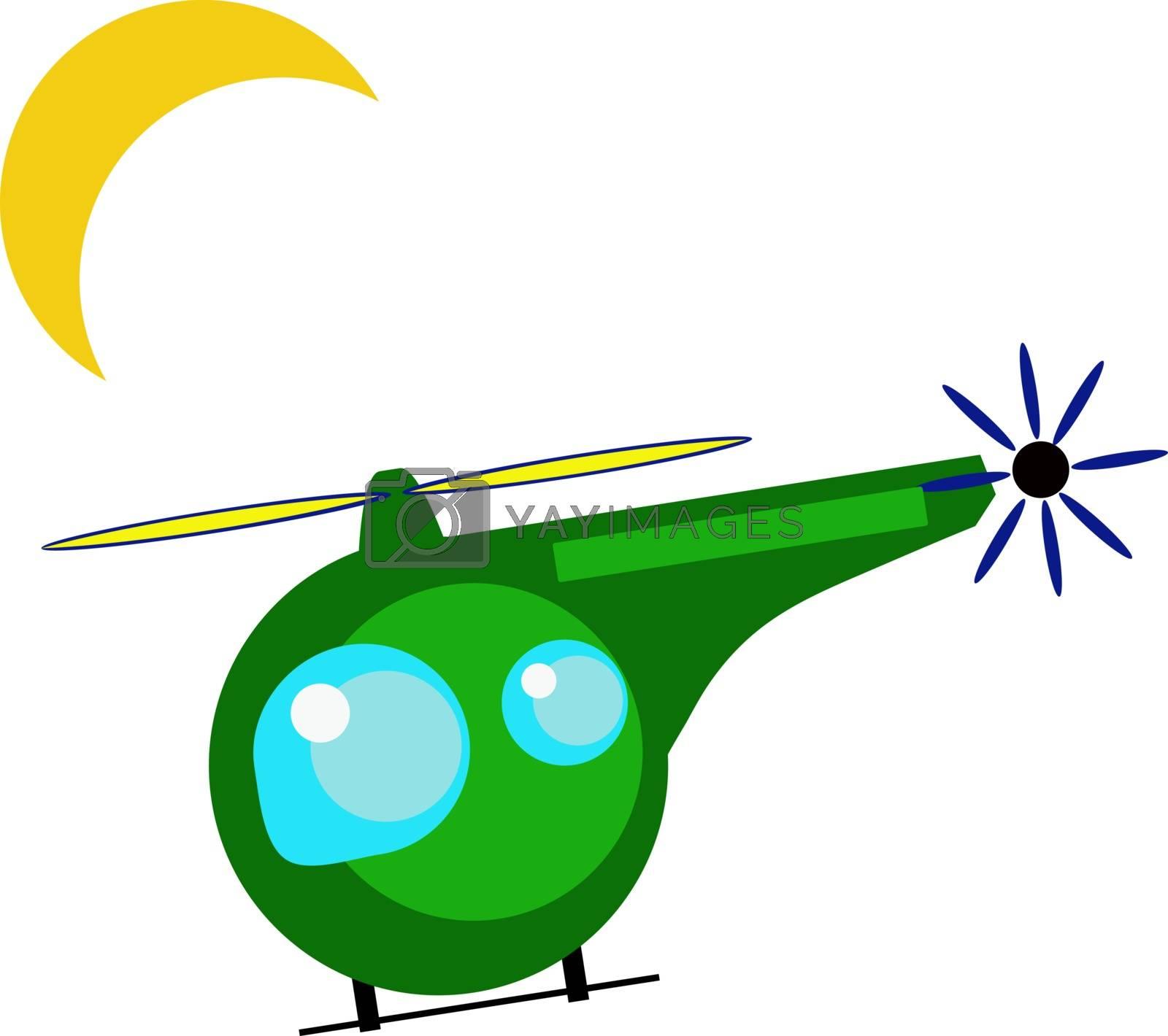 Helicopter flying, illustration, vector on white background.