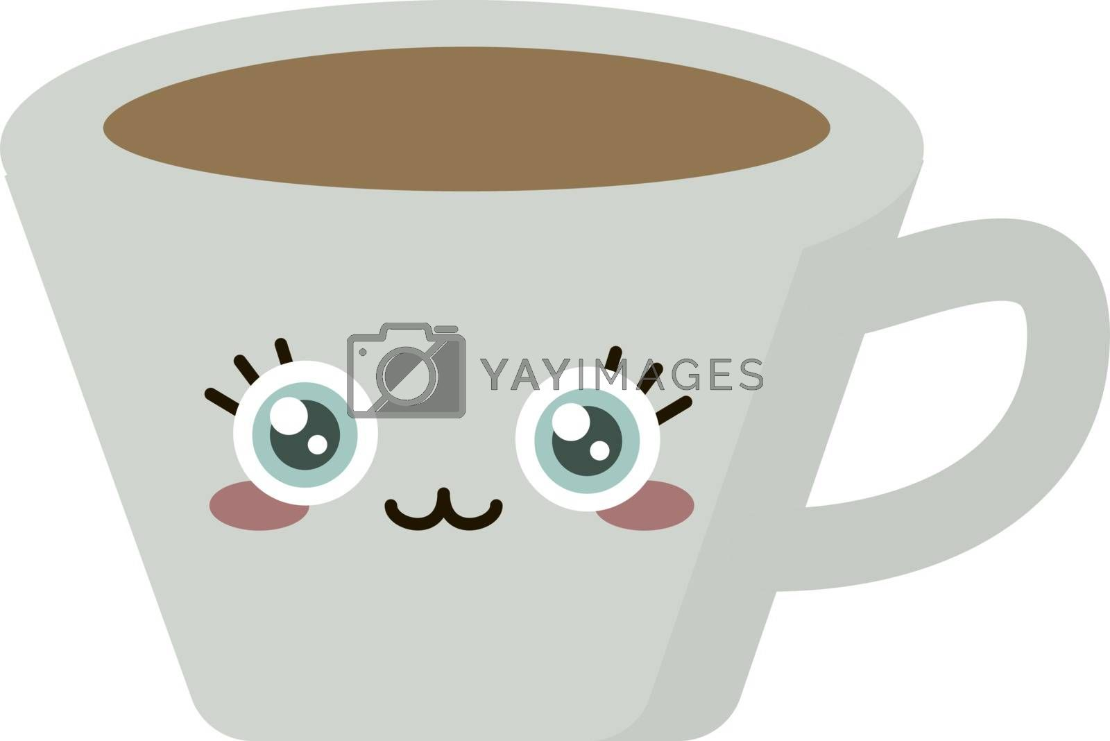 Cup of coffee, illustration, vector on white background.