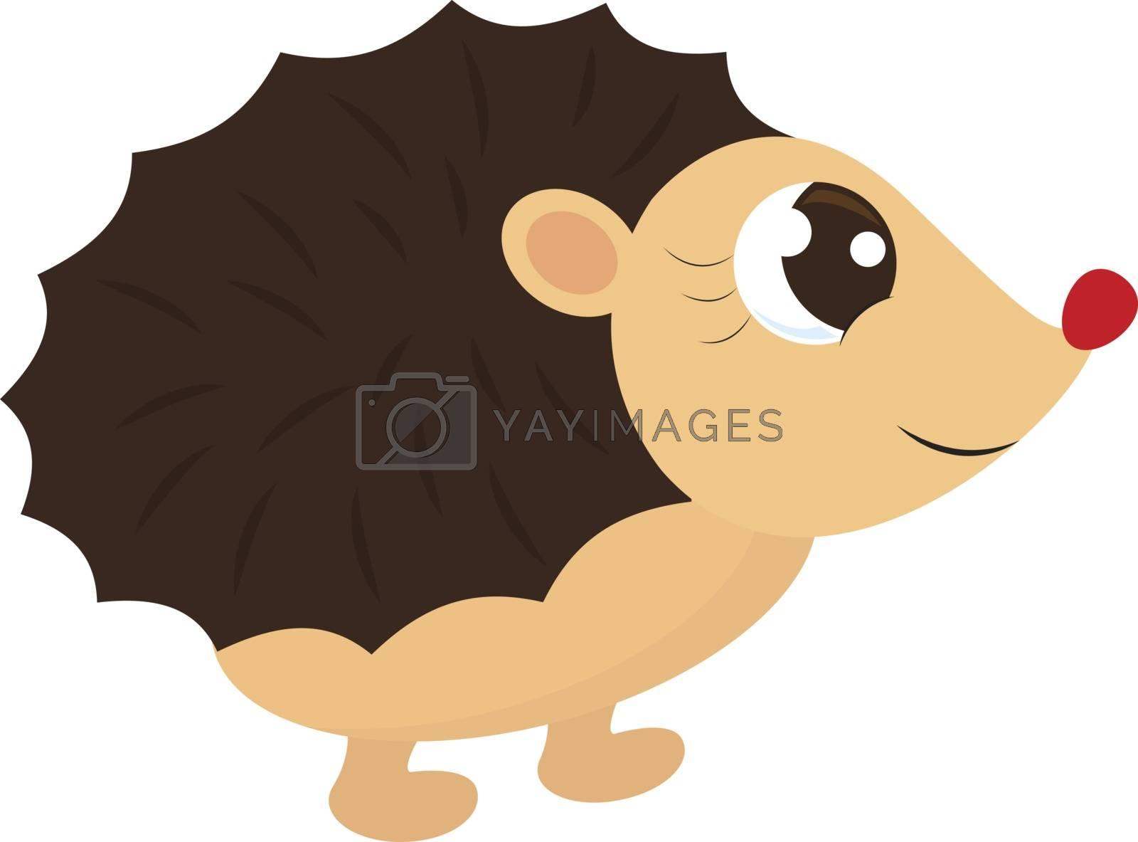 Hedgehog, illustration, vector on white background.