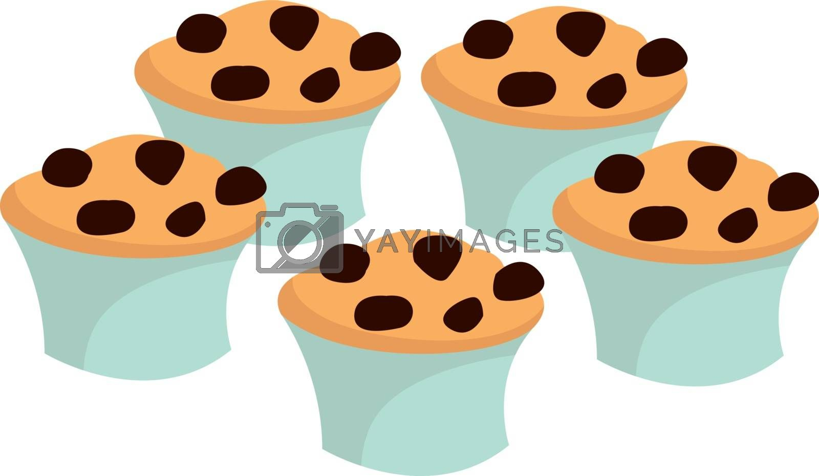 Cupcakes, illustration, vector on white background.