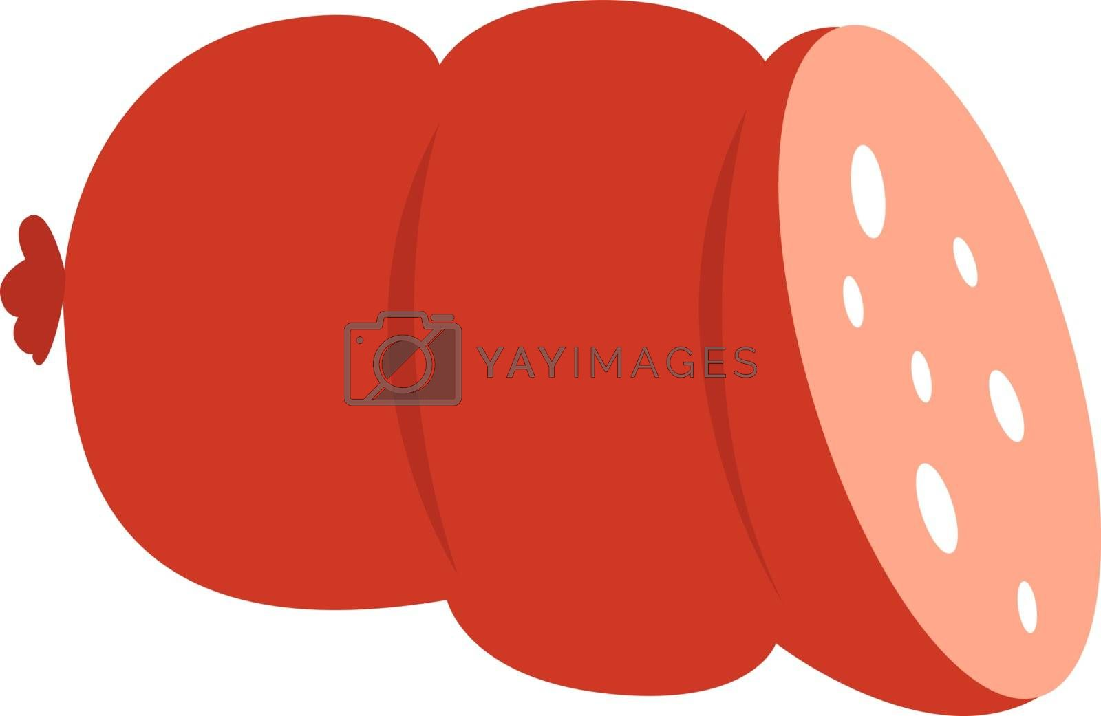 Sausage, illustration, vector on white background.