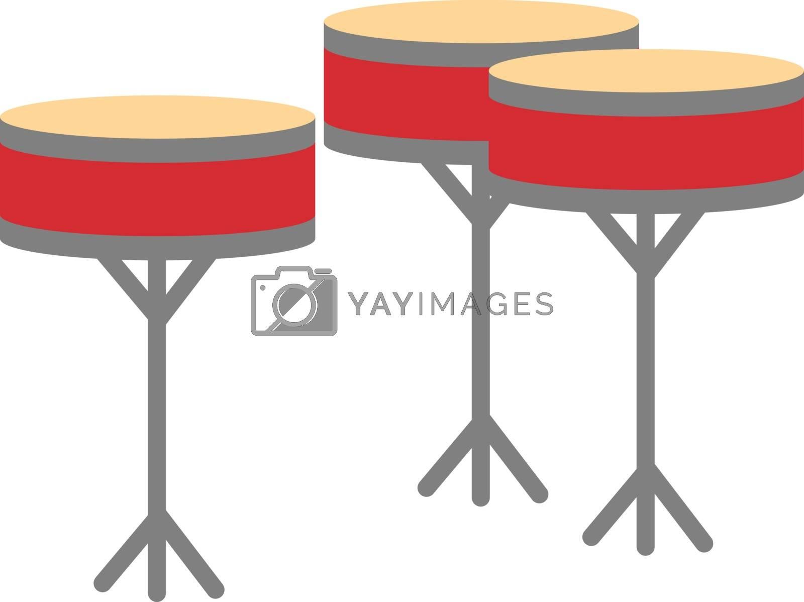 Drums, illustration, vector on white background.