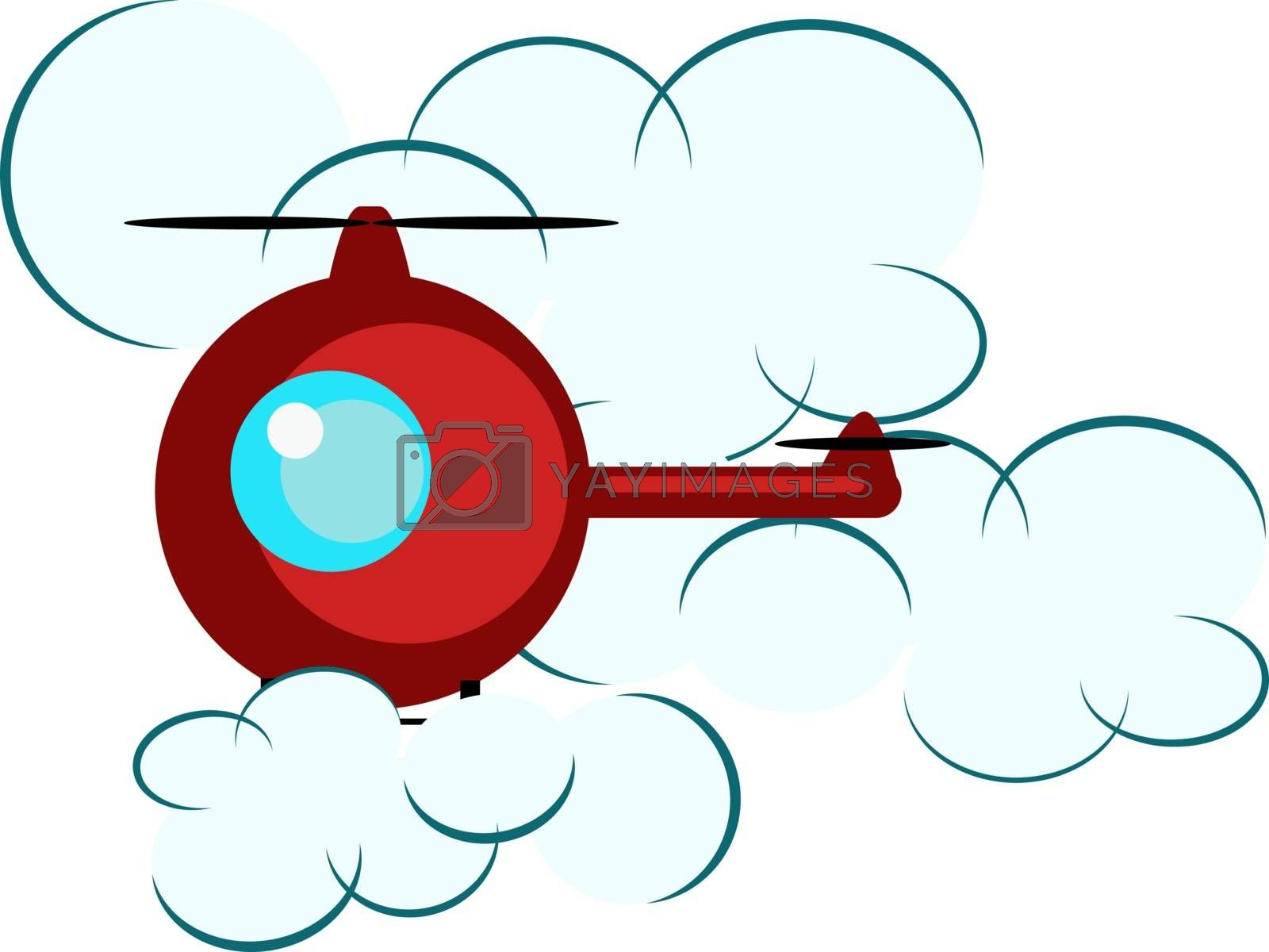 Helicopter flying, illustration, vector on white background. by Morphart