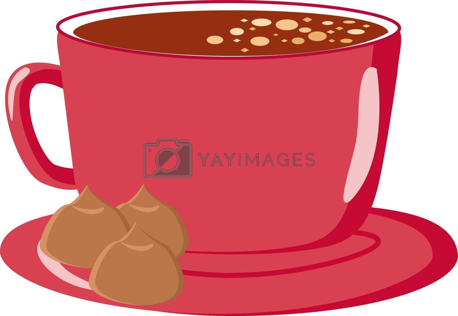 Pink cup, illustration, vector on white background.
