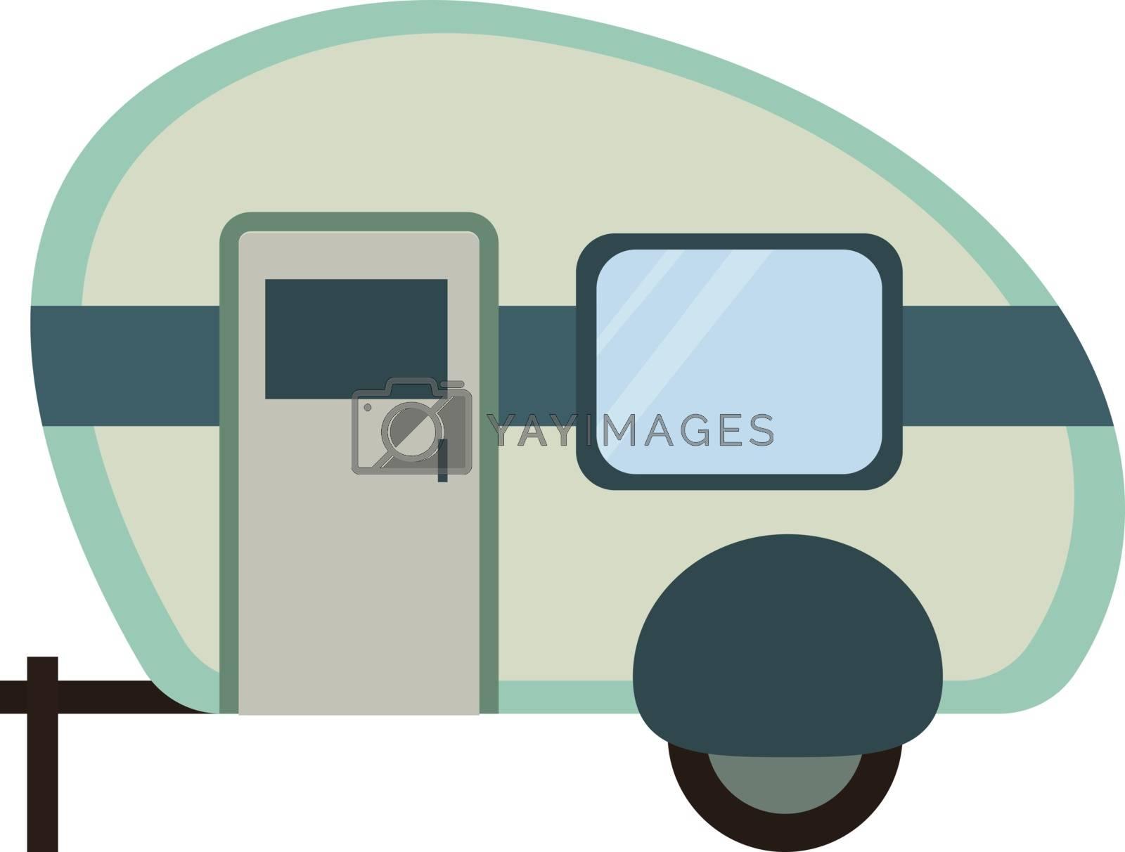 House on wheels, illustration, vector on white background.