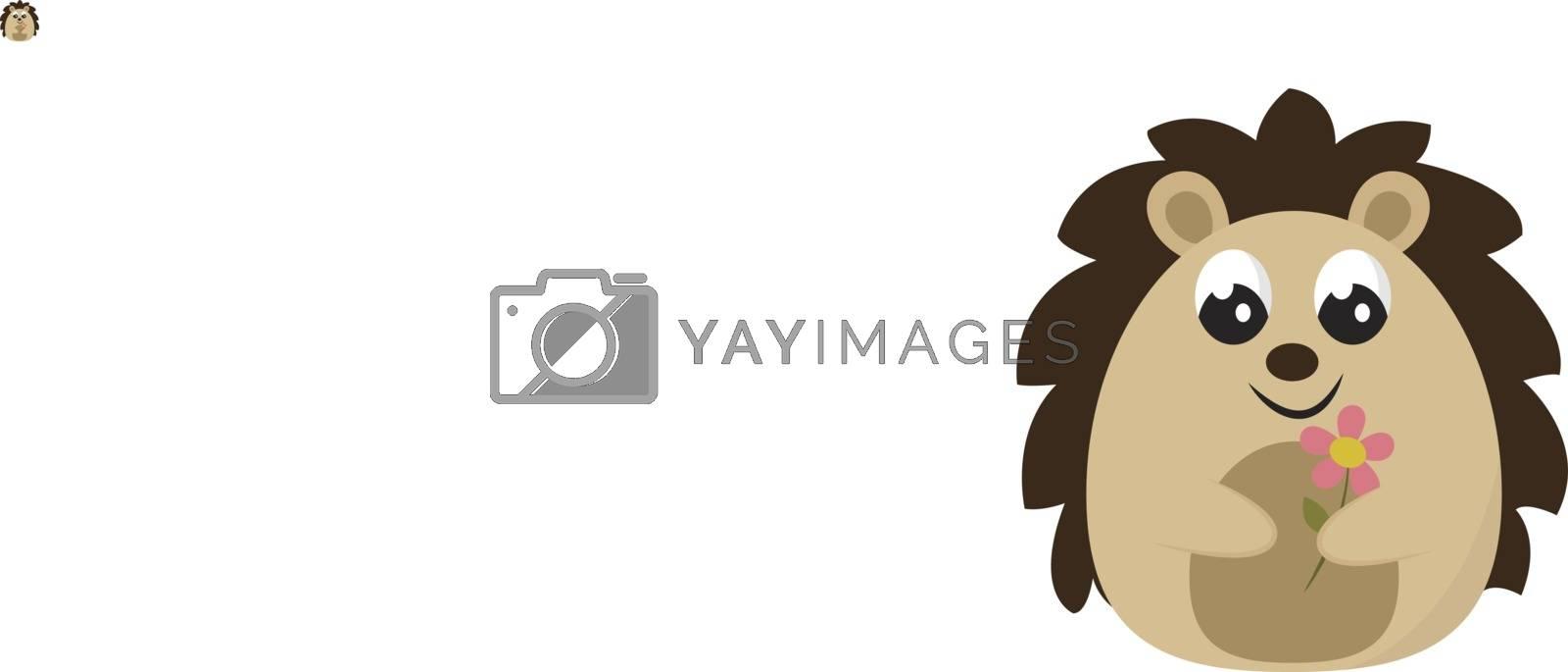 Happy hedgehog, illustration, vector on white background.