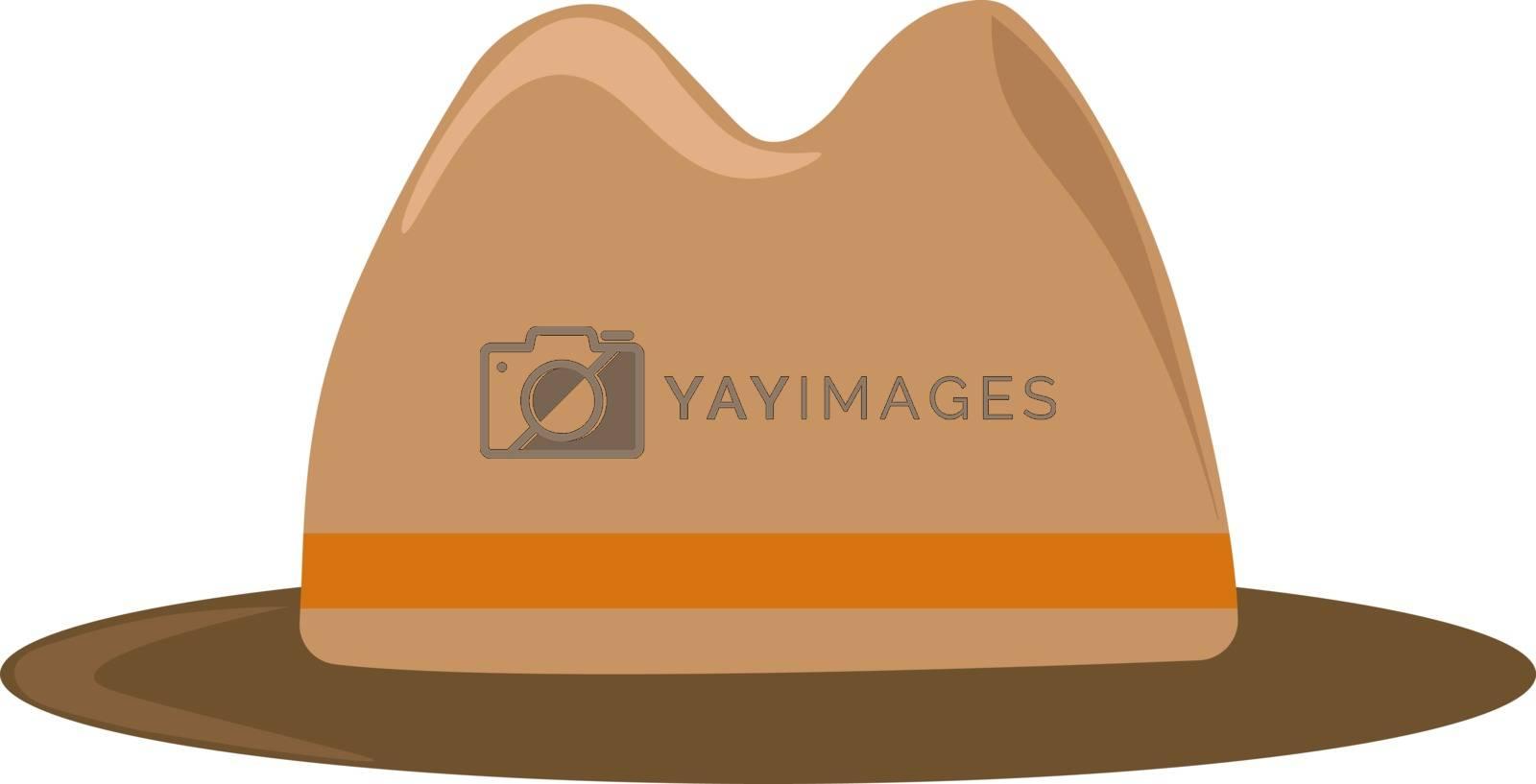 Brown hat, illustration, vector on white background. by Morphart