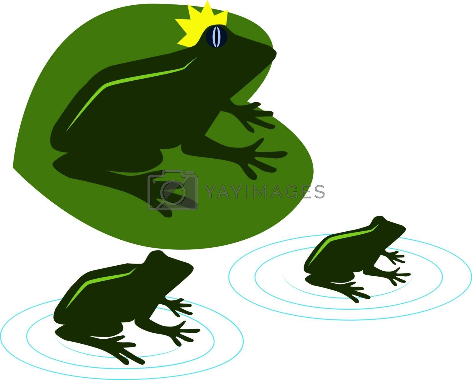 Green frogs, illustration, vector on white background.