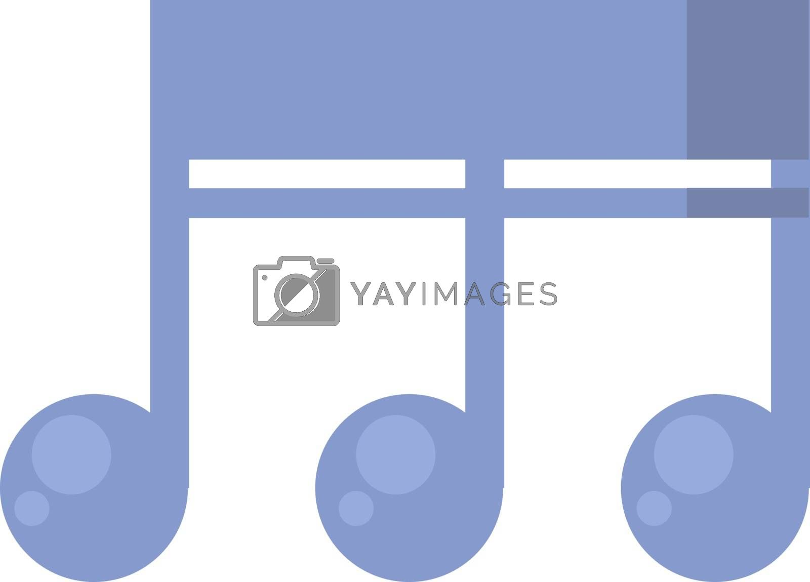 Music note, illustration, vector on white background.