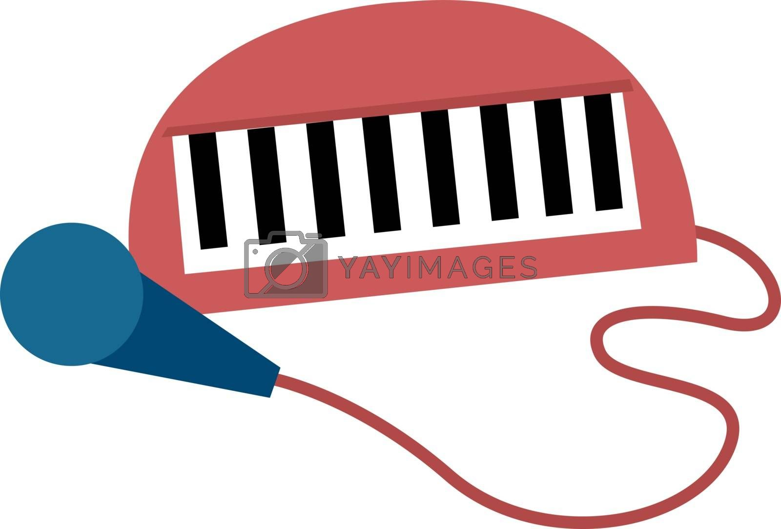 Microphone, illustration, vector on white background.