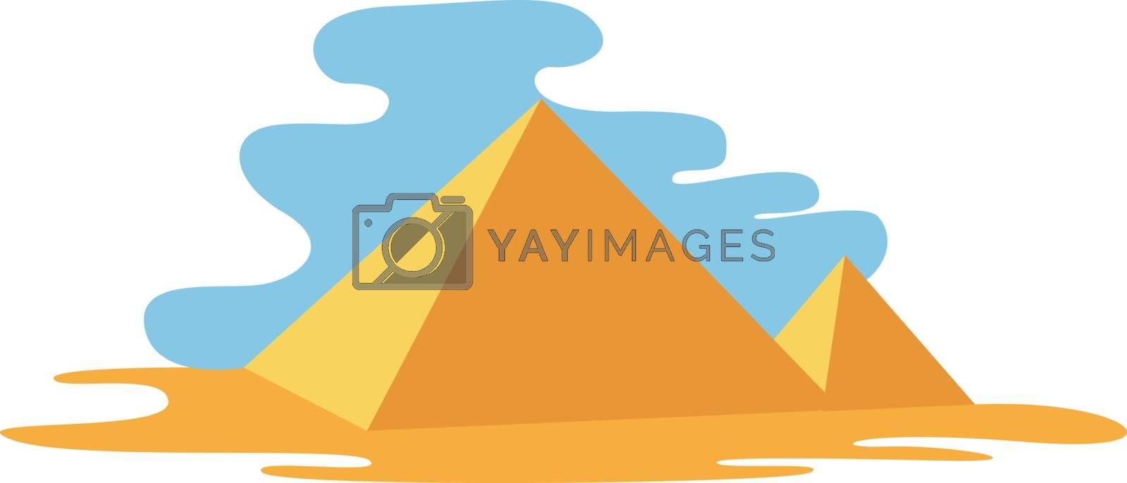 Pyramids, illustration, vector on white background.