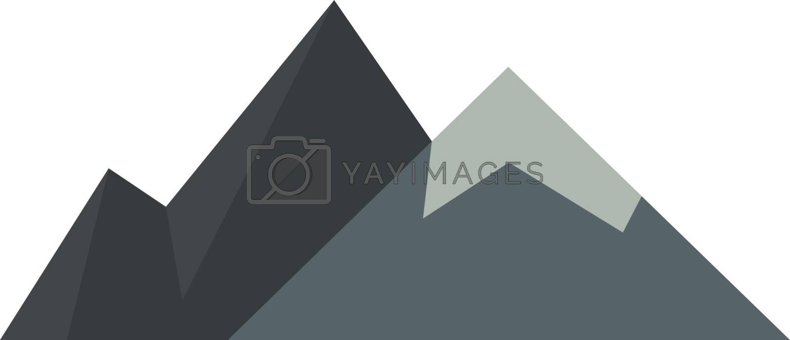 Mountains, illustration, vector on white background.