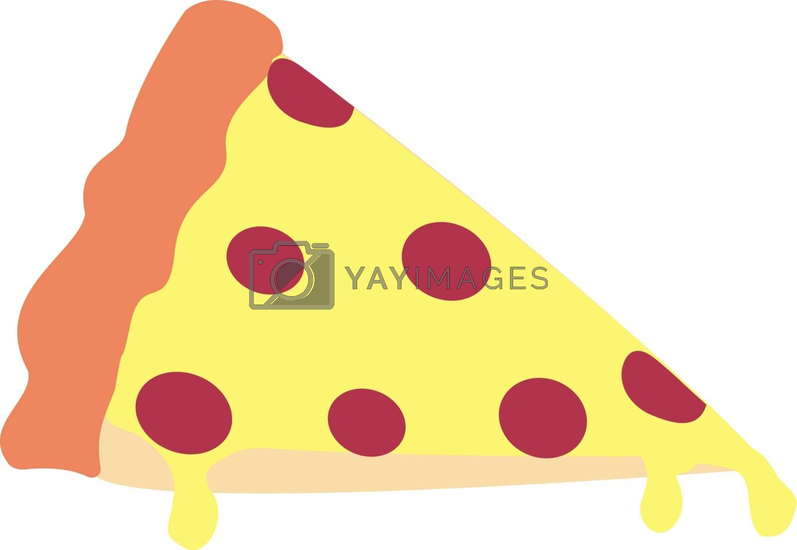 Pizza slice, illustration, vector on white background.