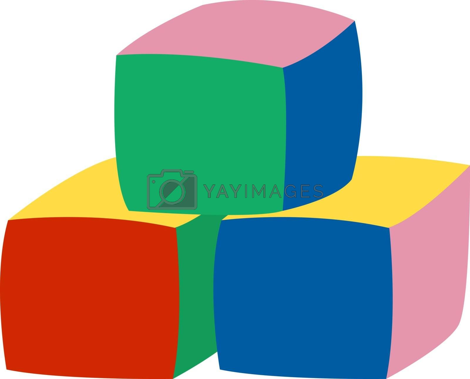 Cubes toy, illustration, vector on white background.