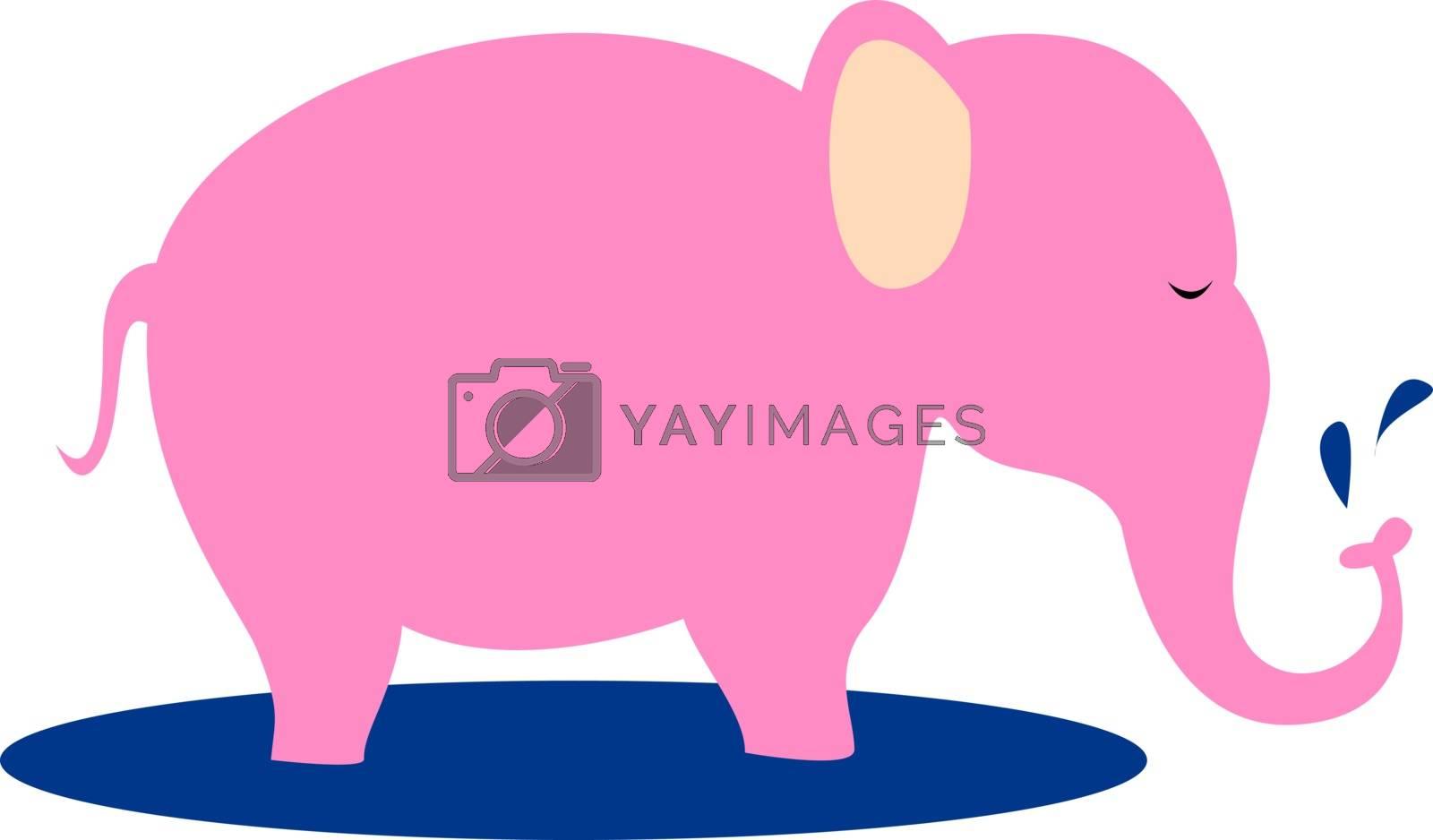 Pink elephant, illustration, vector on white background.
