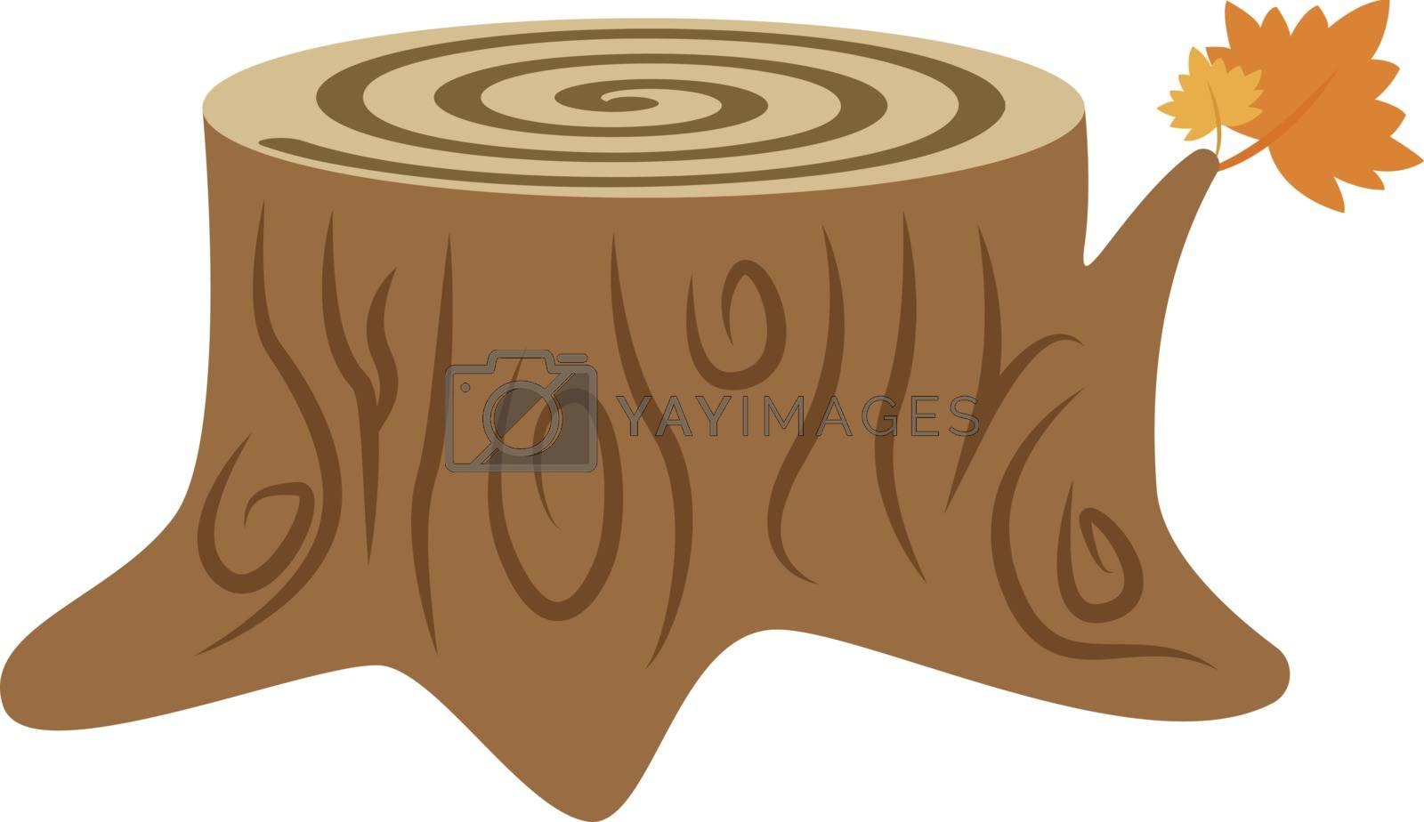 Wooden log, illustration, vector on white background.