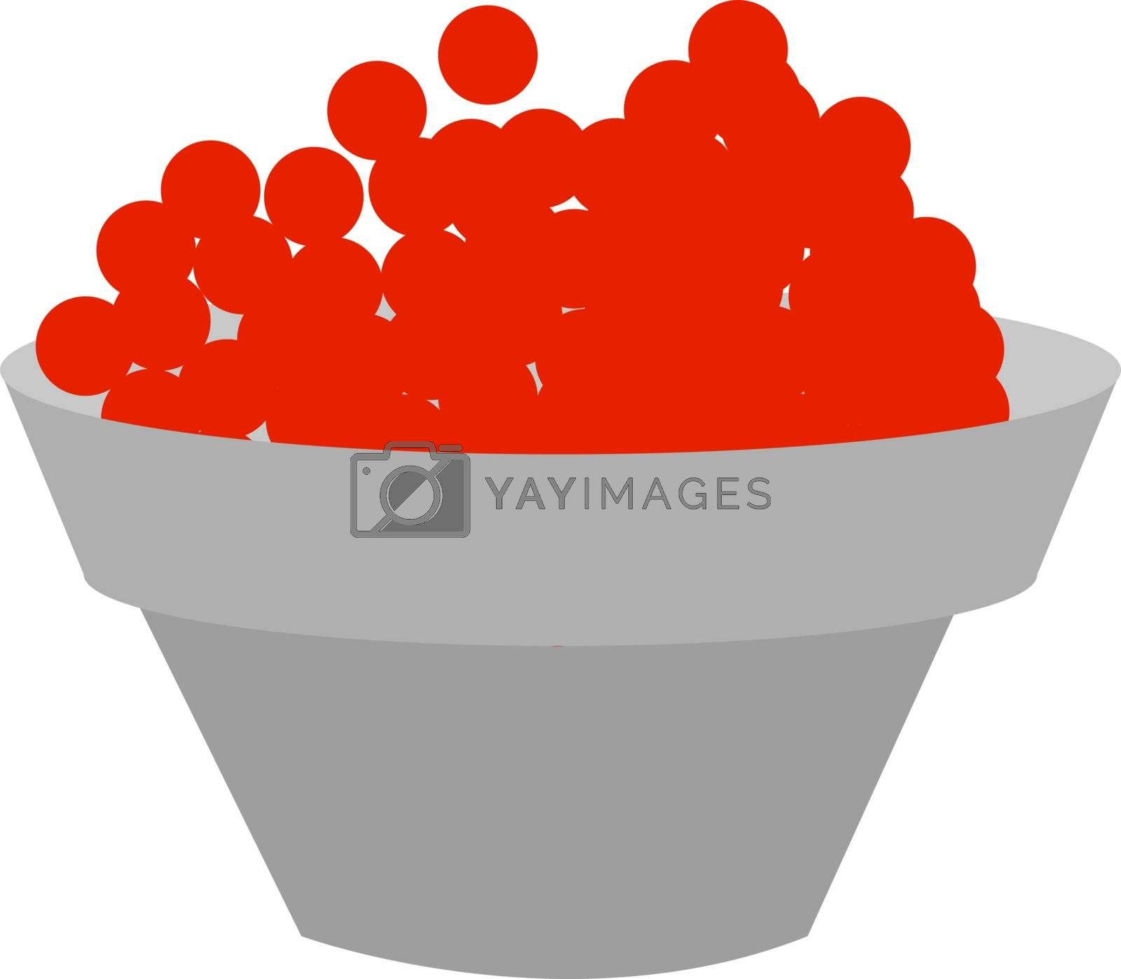 Red caviar, illustration, vector on white background.