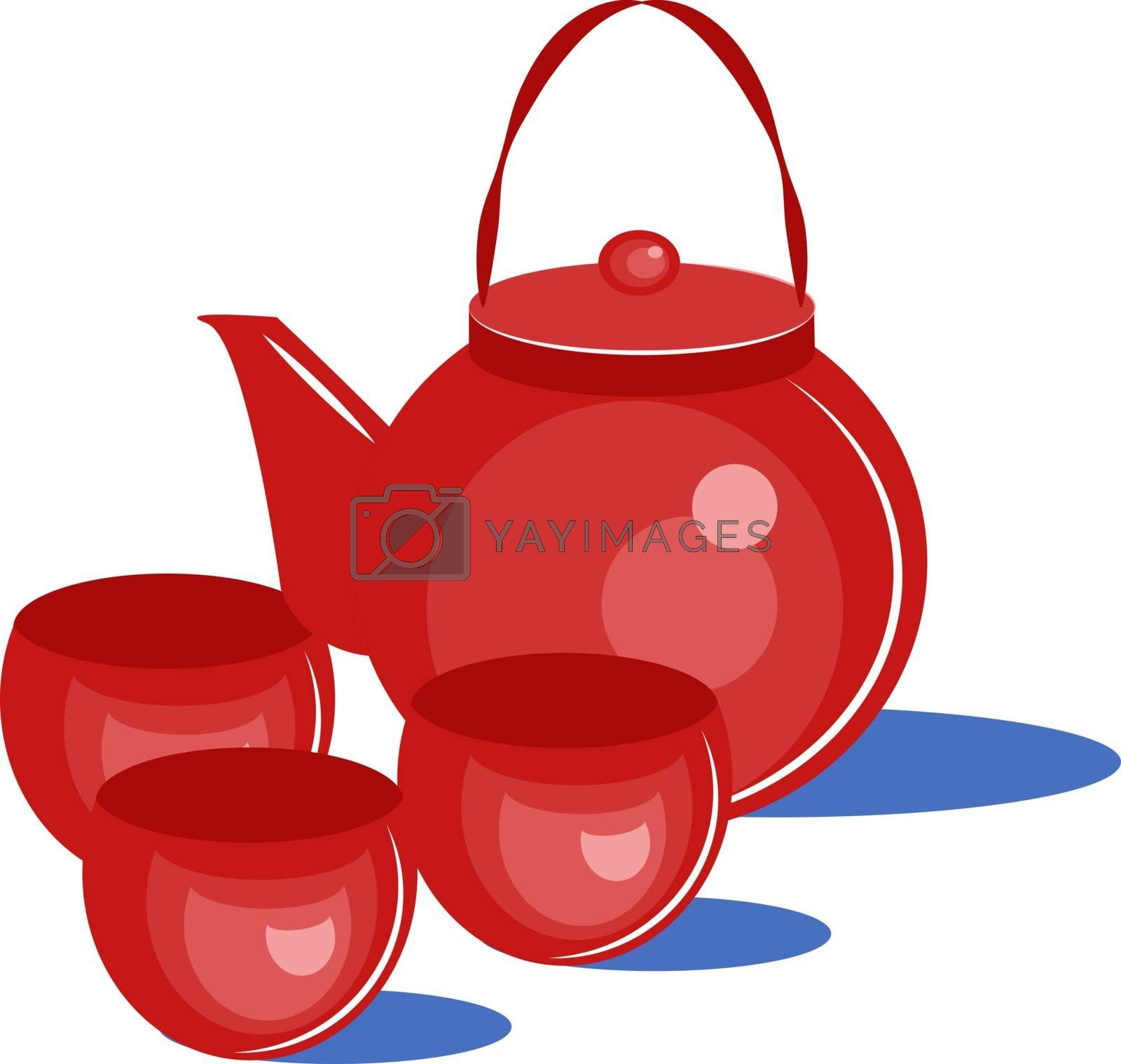 Red kettle, illustration, vector on white background.