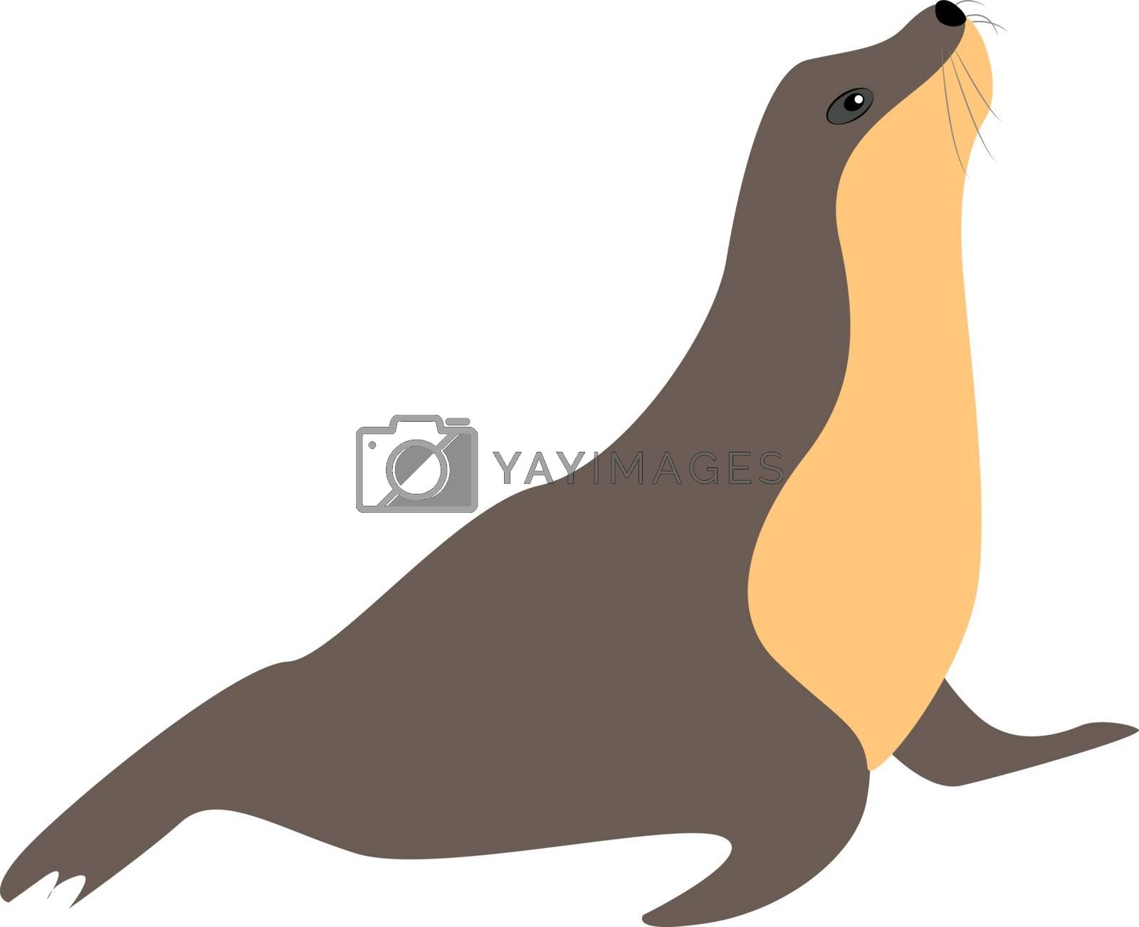 Seal, illustration, vector on white background.