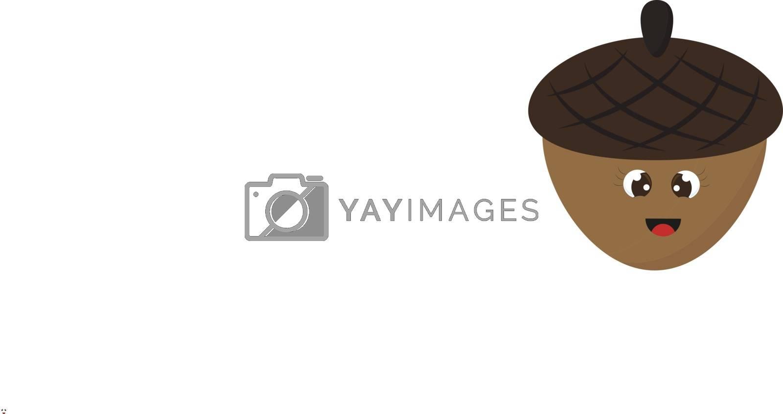 Smiling acorn, illustration, vector on white background. by Morphart