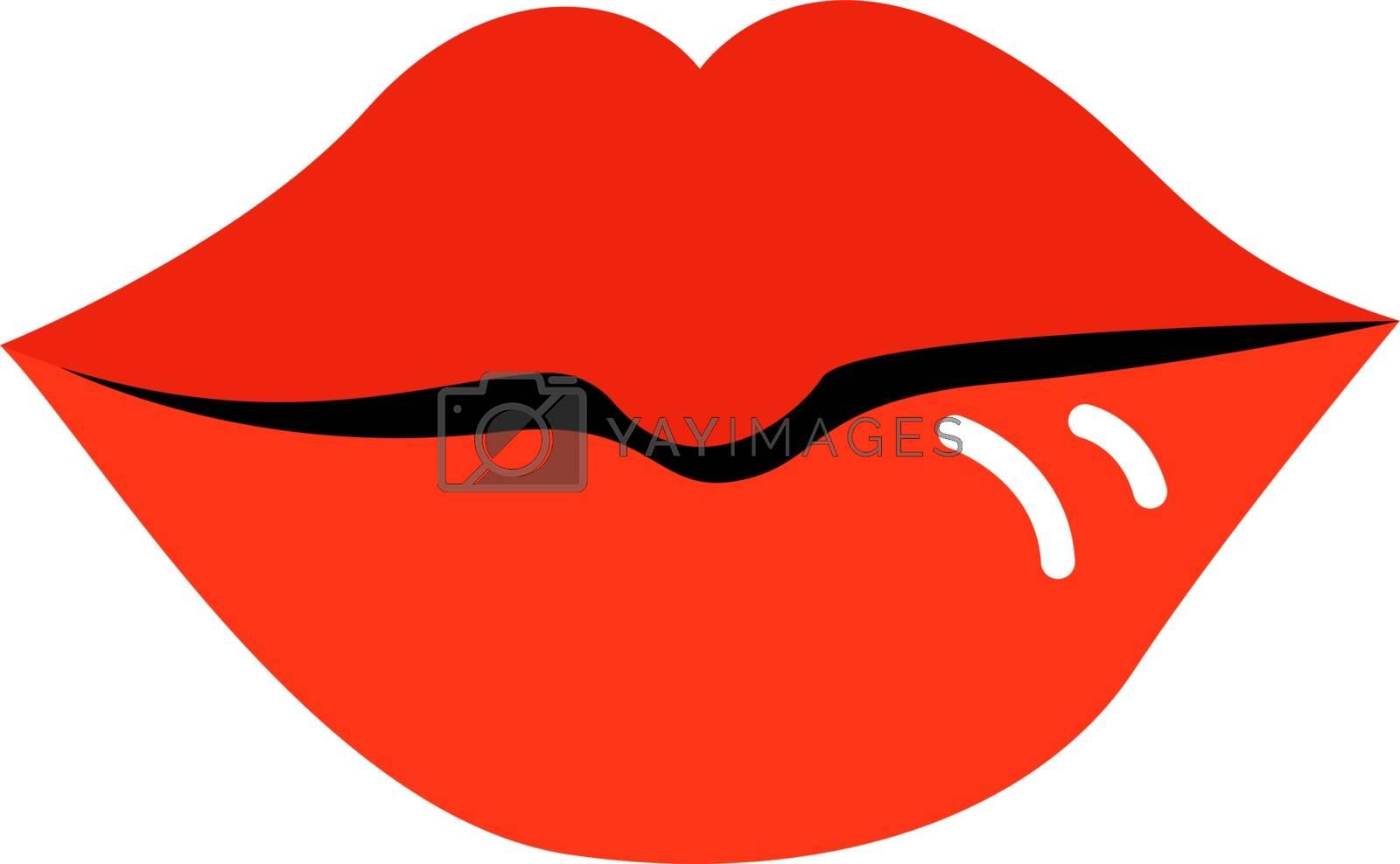 Red lips, illustration, vector on white background. by Morphart