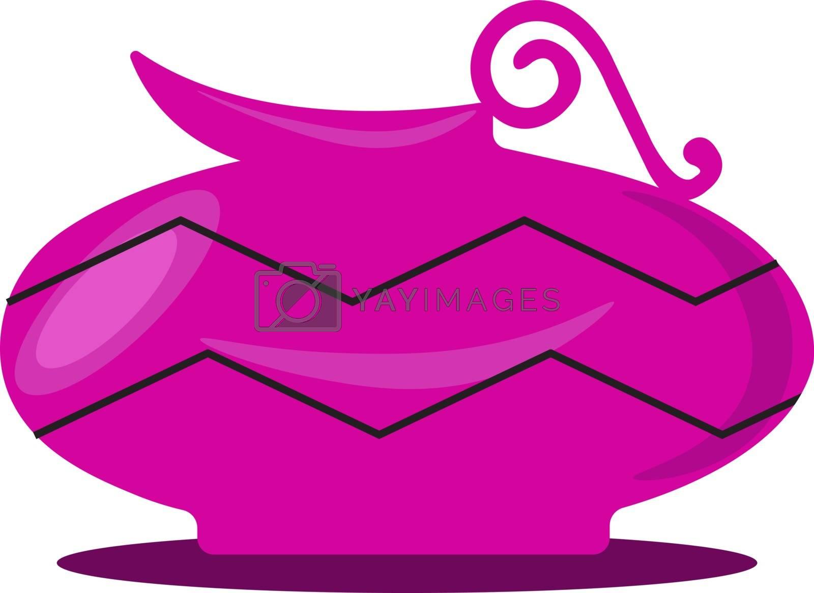 Pink vase, illustration, vector on white background. by Morphart