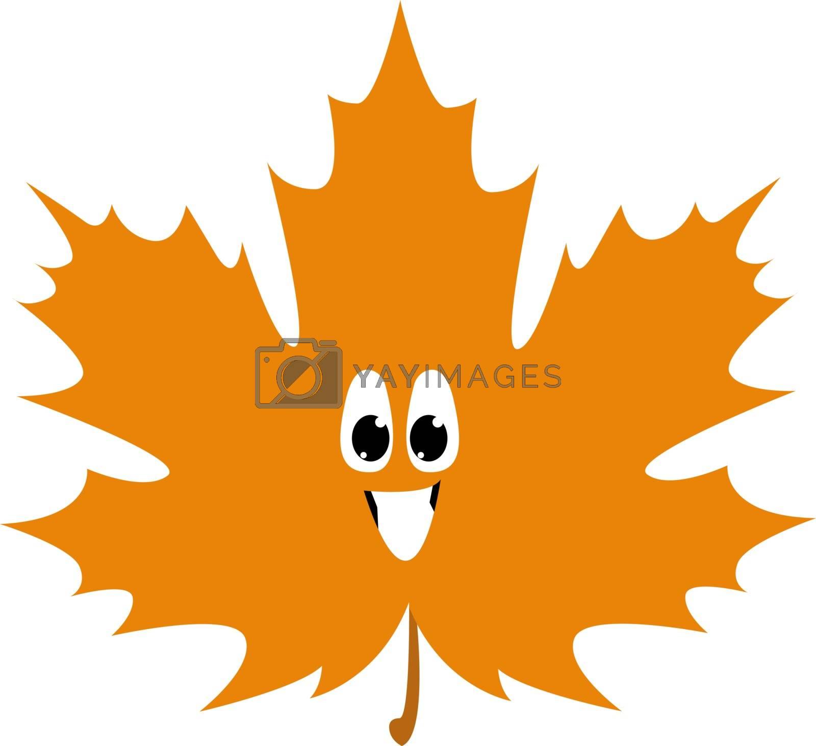Smiling leaf, illustration, vector on white background. by Morphart