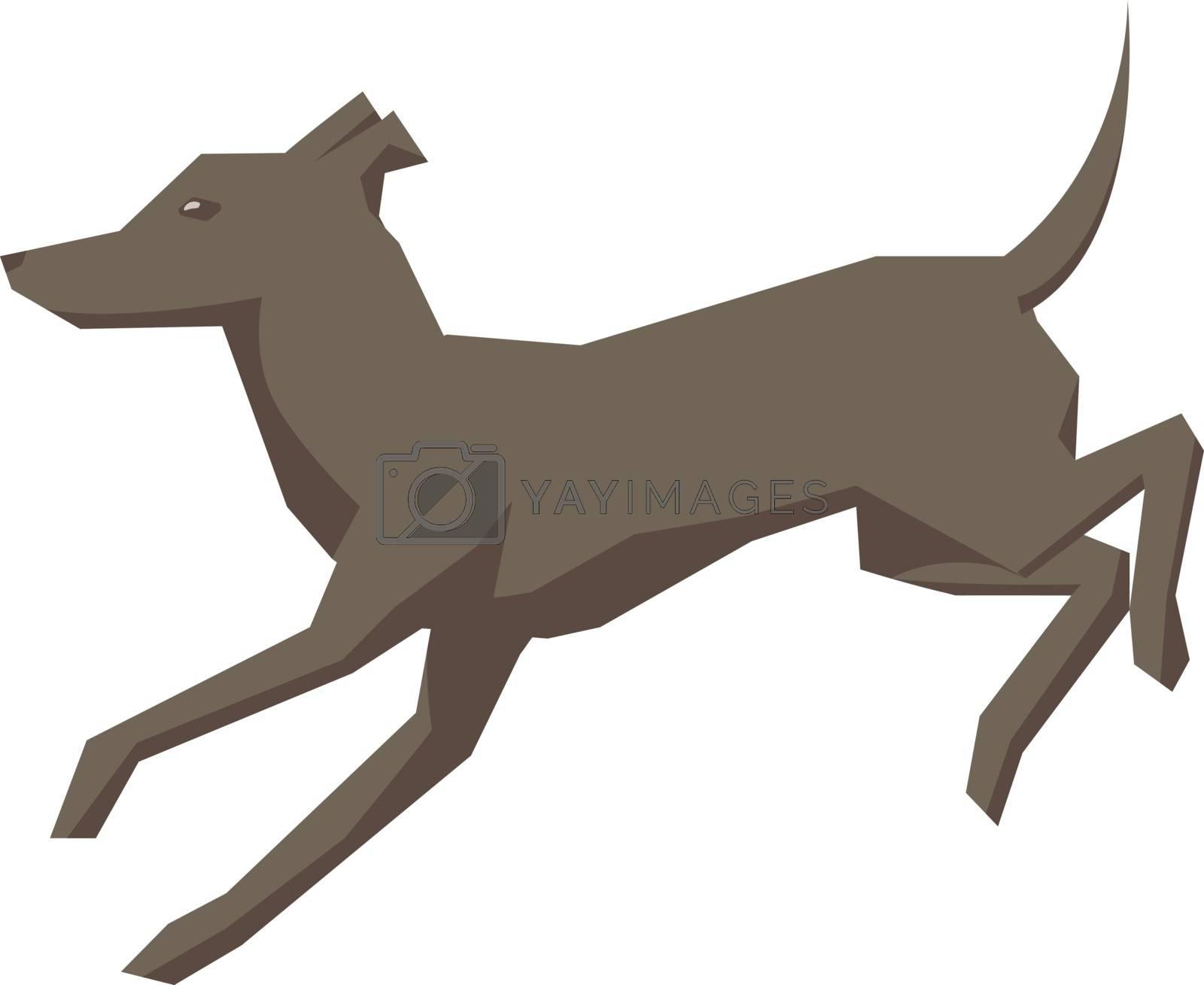 Running dog, illustration, vector on white background. by Morphart