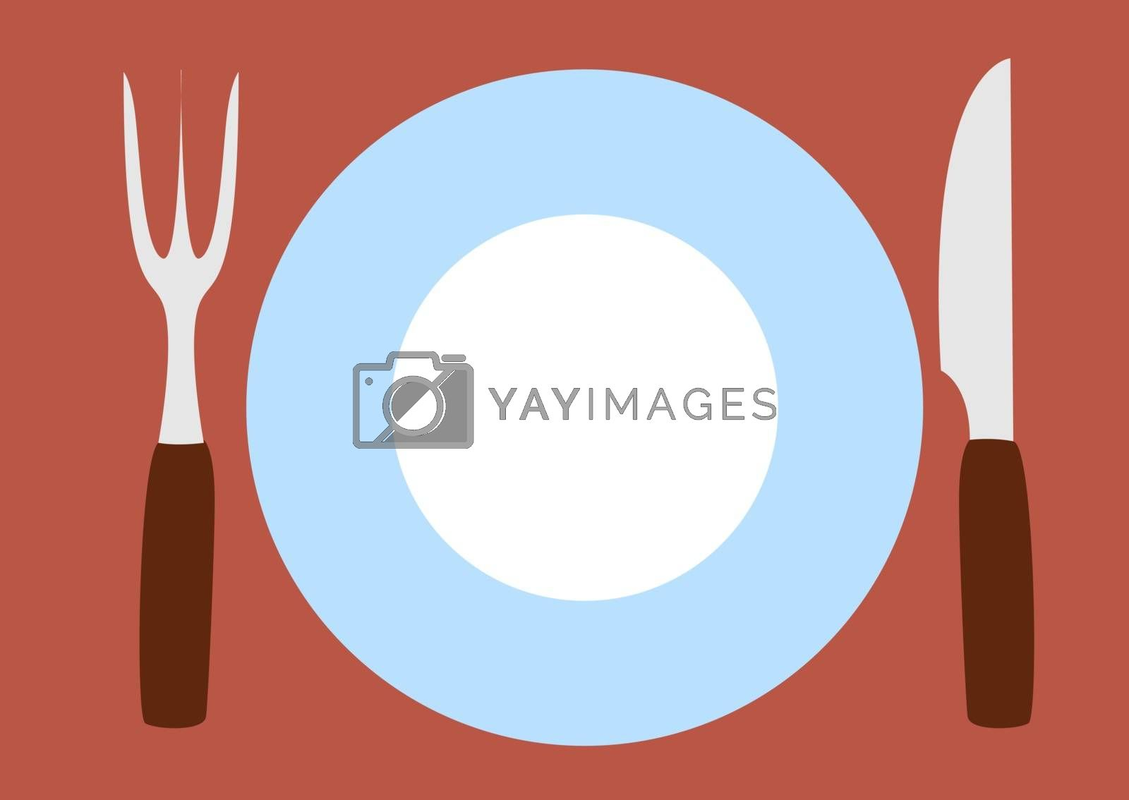Plate with fork and knife, illustration, vector on white background.