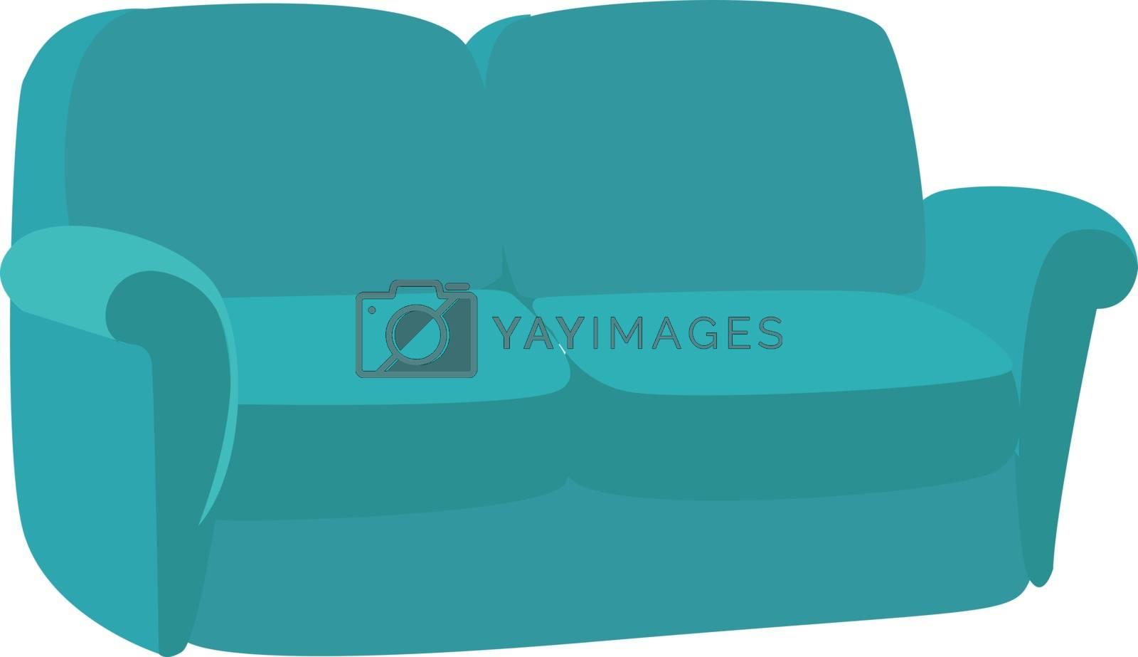 Blue sofa, illustration, vector on white background.