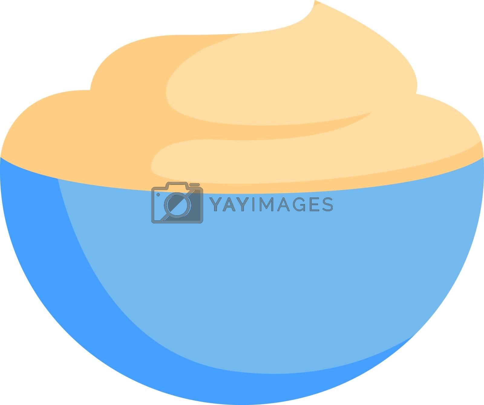 Sour cream, illustration, vector on white background.