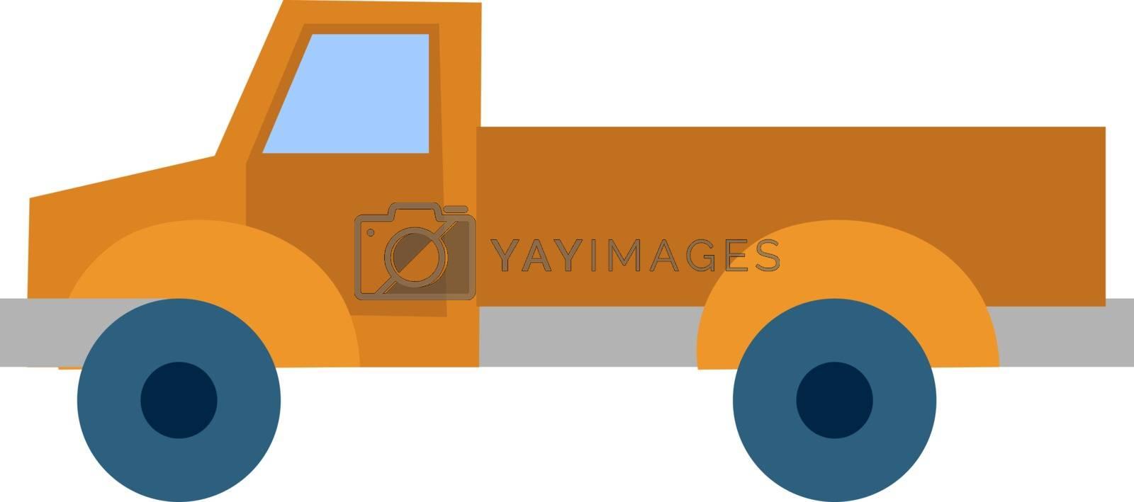 Orange truck, illustration, vector on white background.