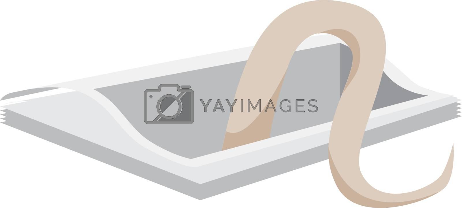 Snake in hole, illustration, vector on white background.