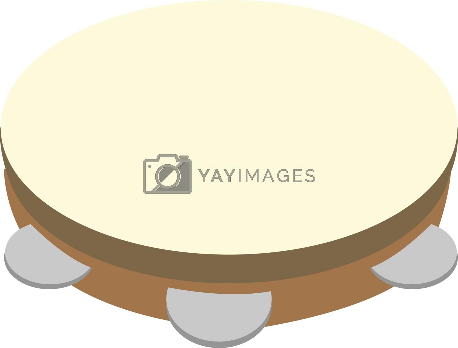Tambourine, illustration, vector on white background.