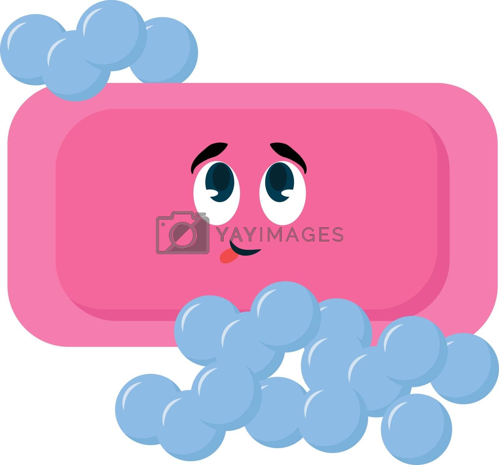 Pink soap, illustration, vector on white background.