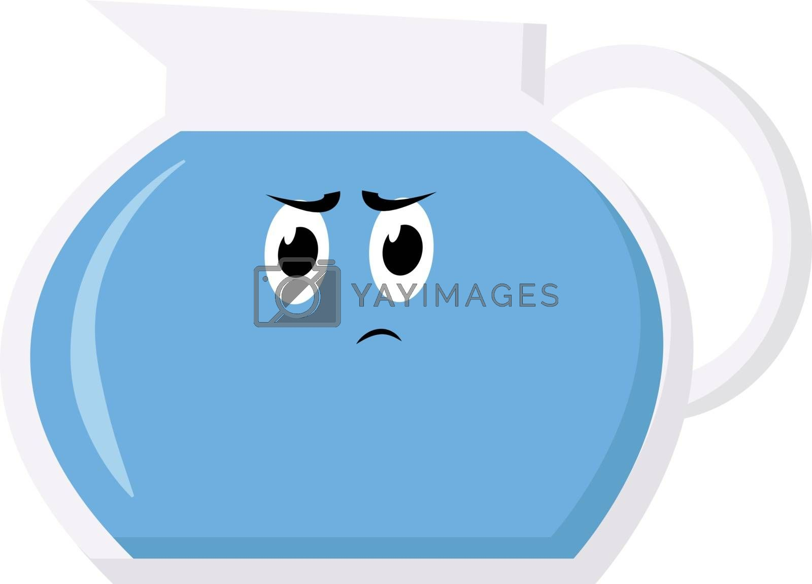 Water in bowl, illustration, vector on white background.