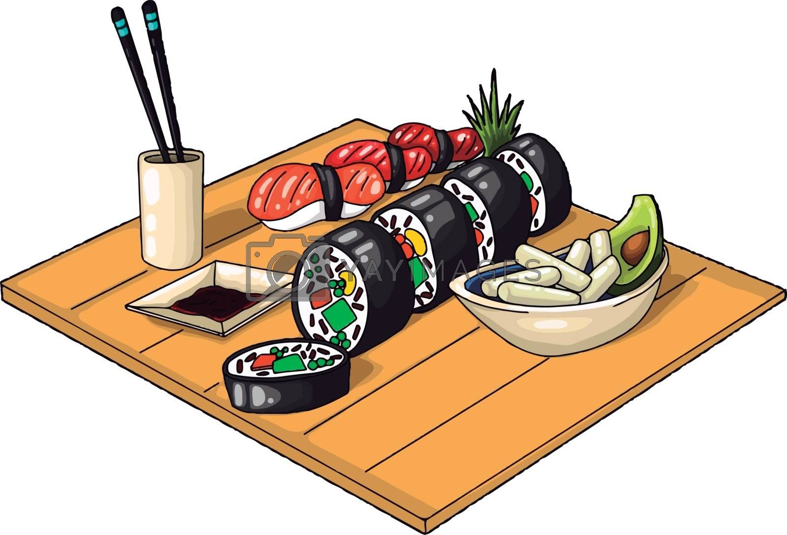 A good feast of chinese food, illustration, vector on white background.