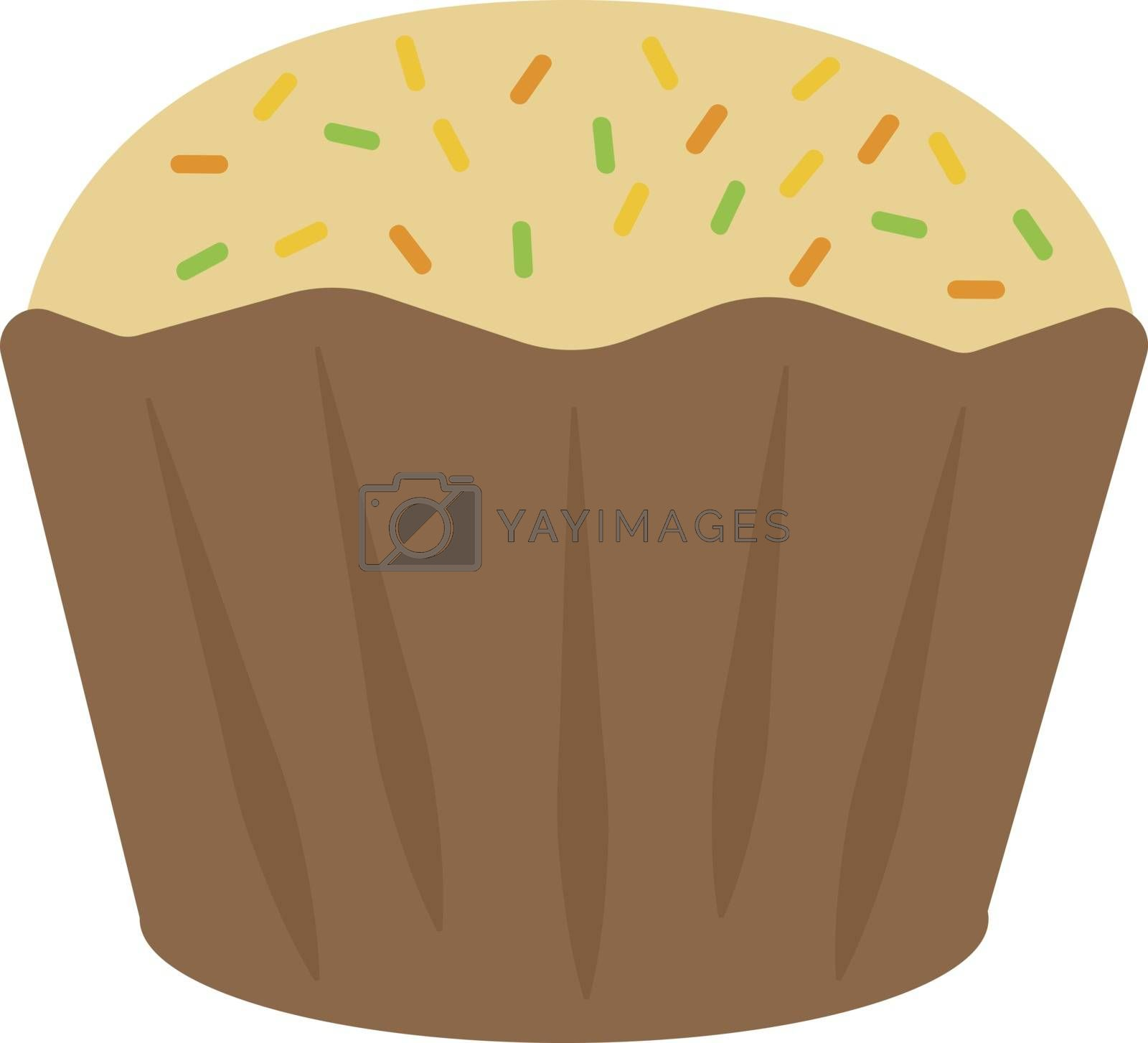 Yellow cupcake, illustration, vector on white background.