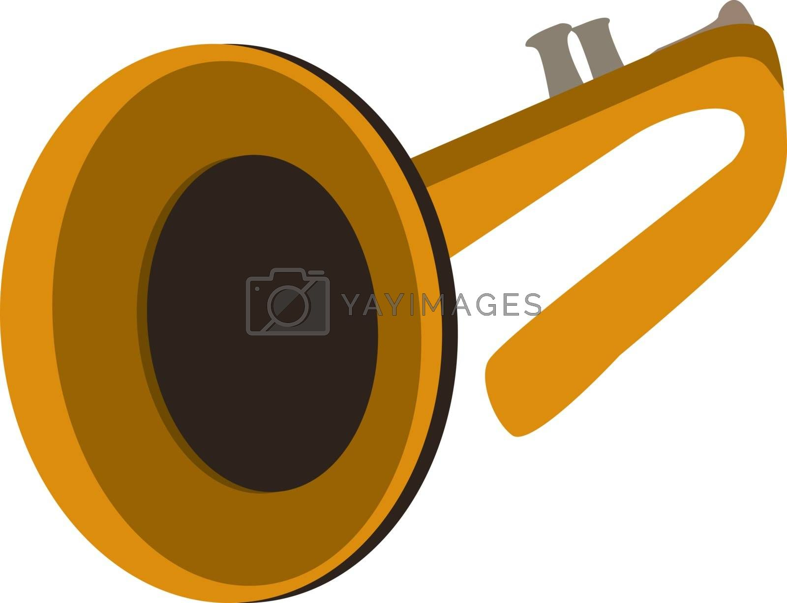 Yellow trumpet, illustration, vector on white background.
