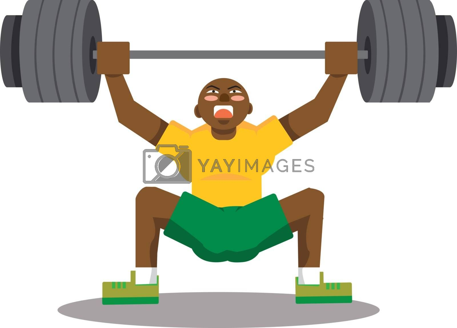 Man lifting weights, illustration, vector on white background.