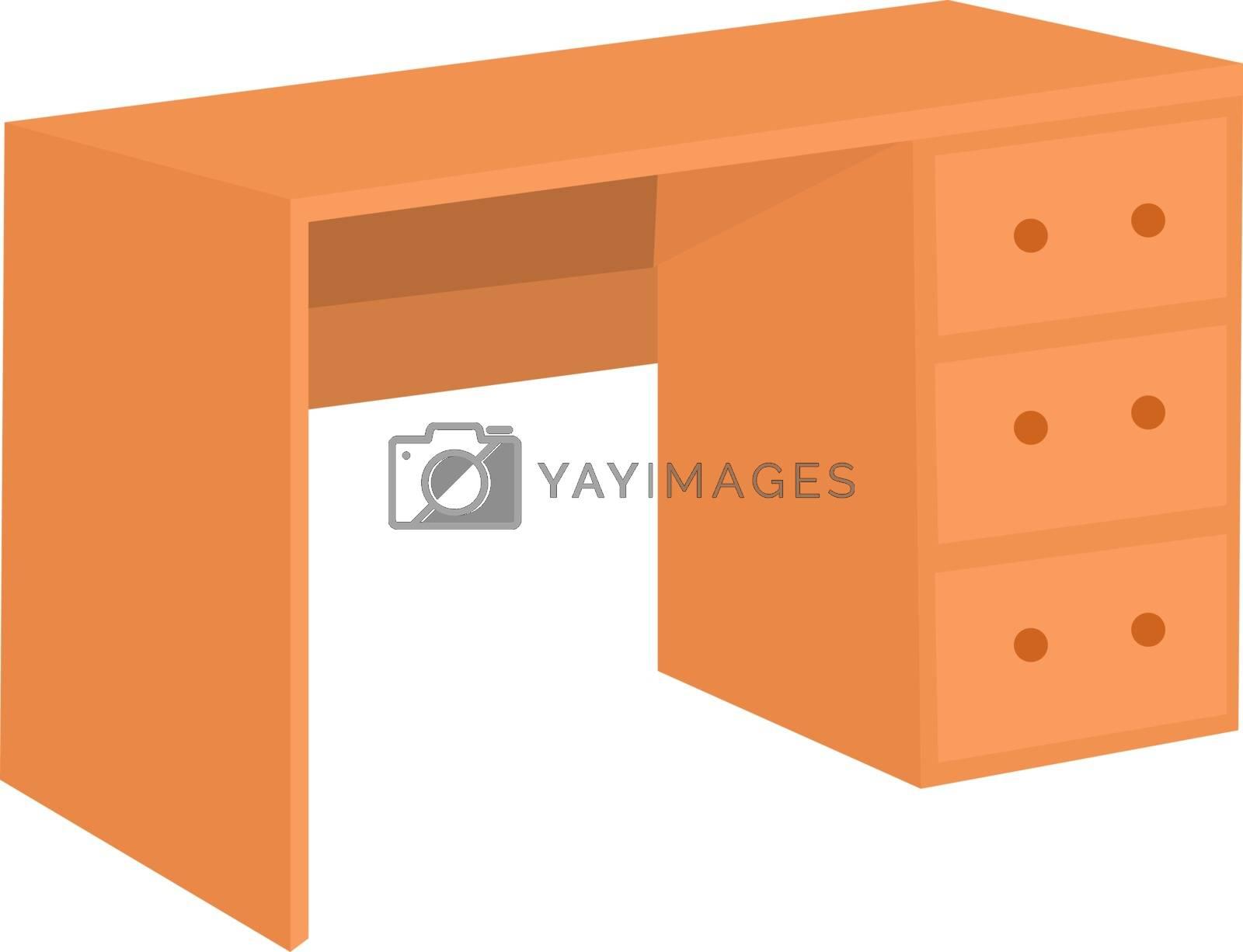 Wooden desk, illustration, vector on white background.