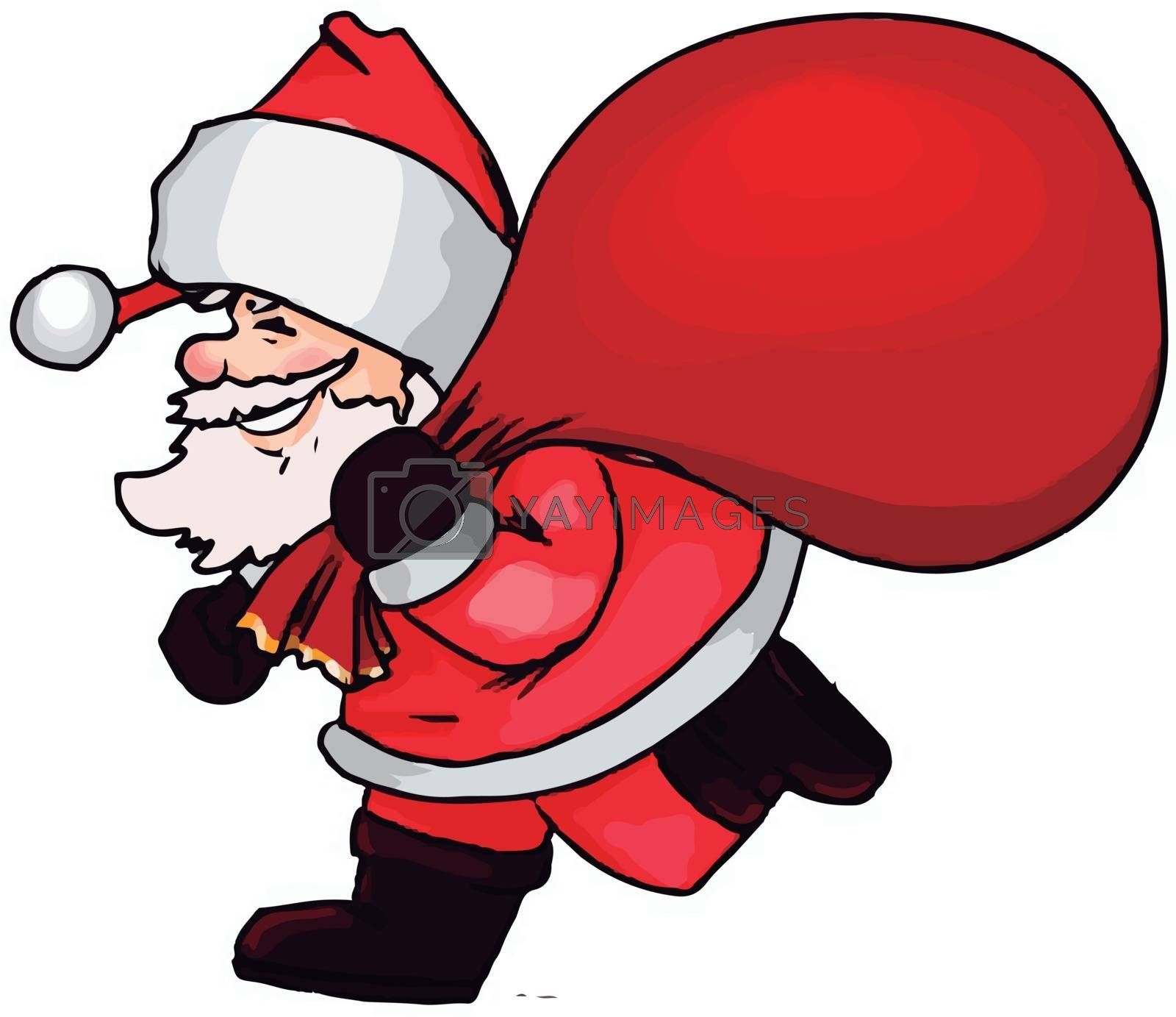 Santa claus with a big bag full of gifts, illustration, vector on white background.