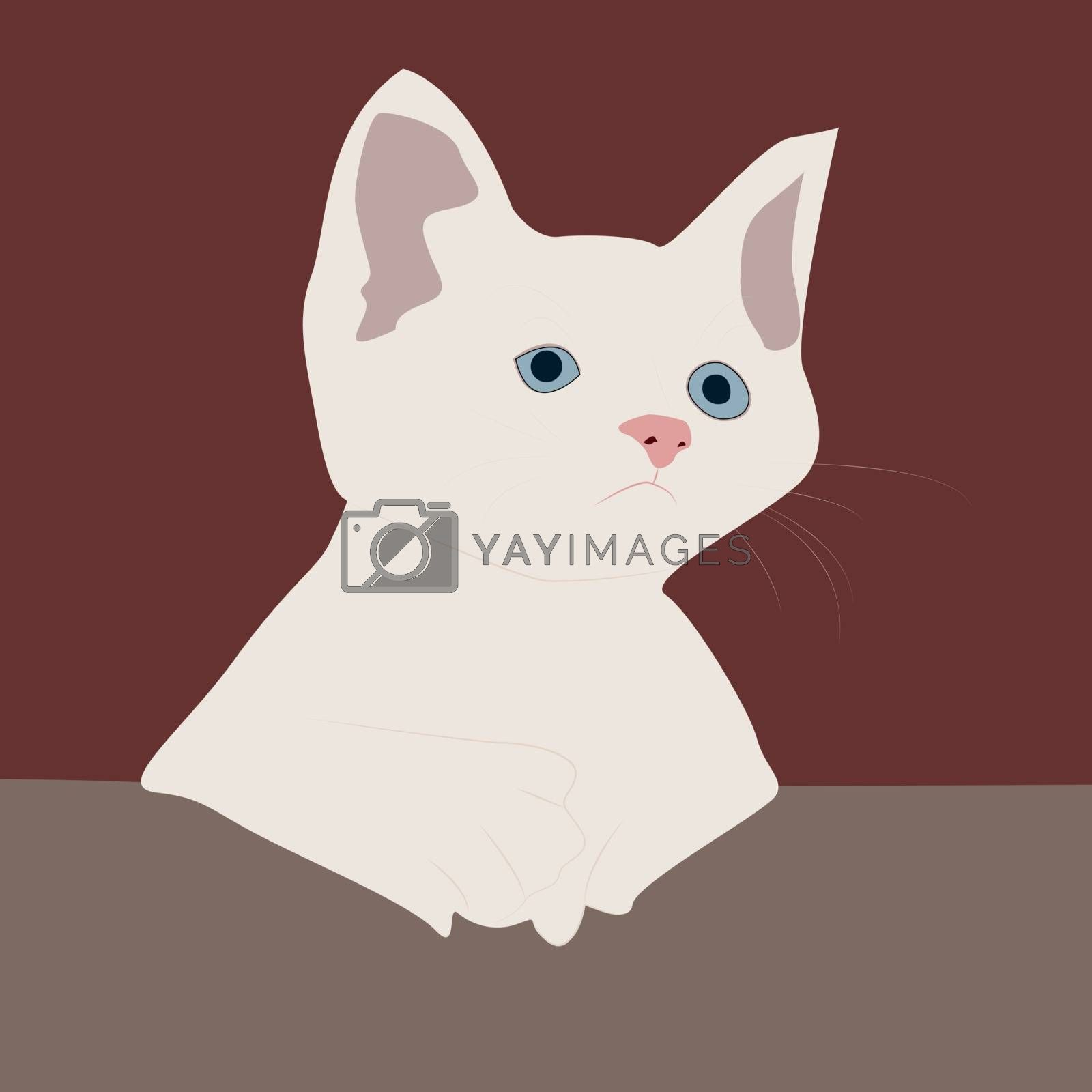 White cat, illustration, vector on white background.
