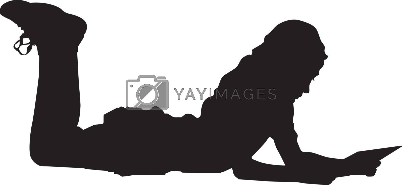 Silhouette of a girl lying on the floor, illustration, vector on white background.