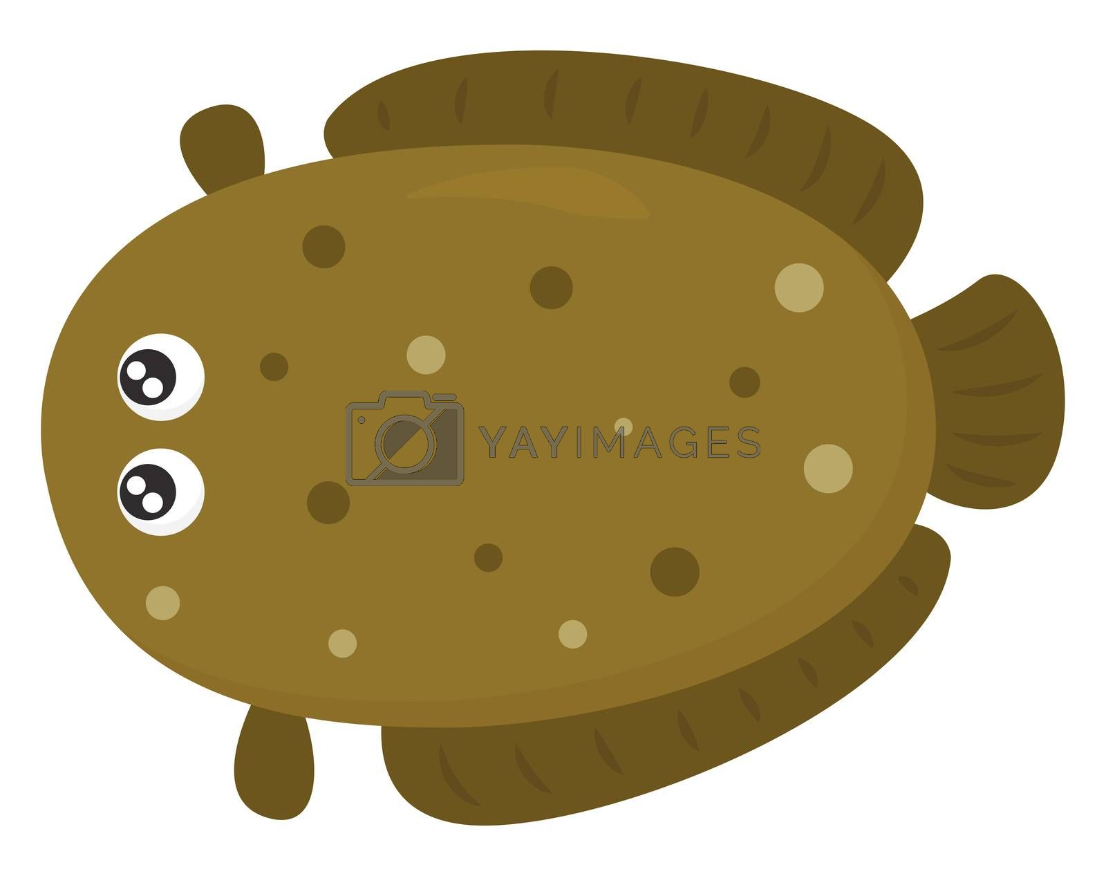 Big brown fish , illustration, vector on white background by Morphart