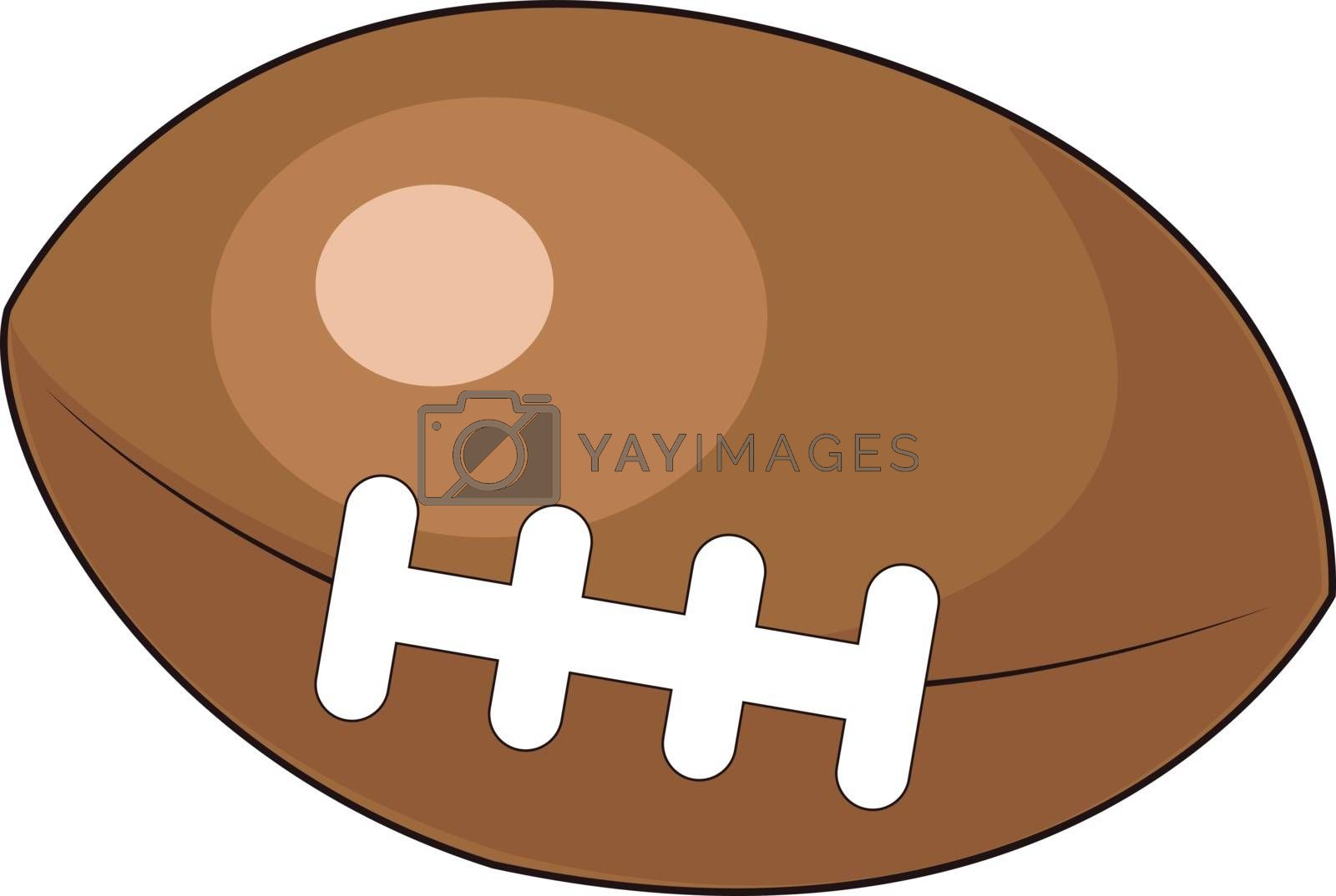 A brown rugby ball, illustration, vector on white background. by Morphart
