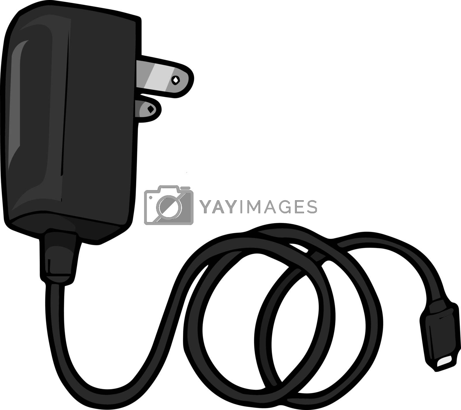 A mobile charger in black colour, illustration, vector on white  by Morphart