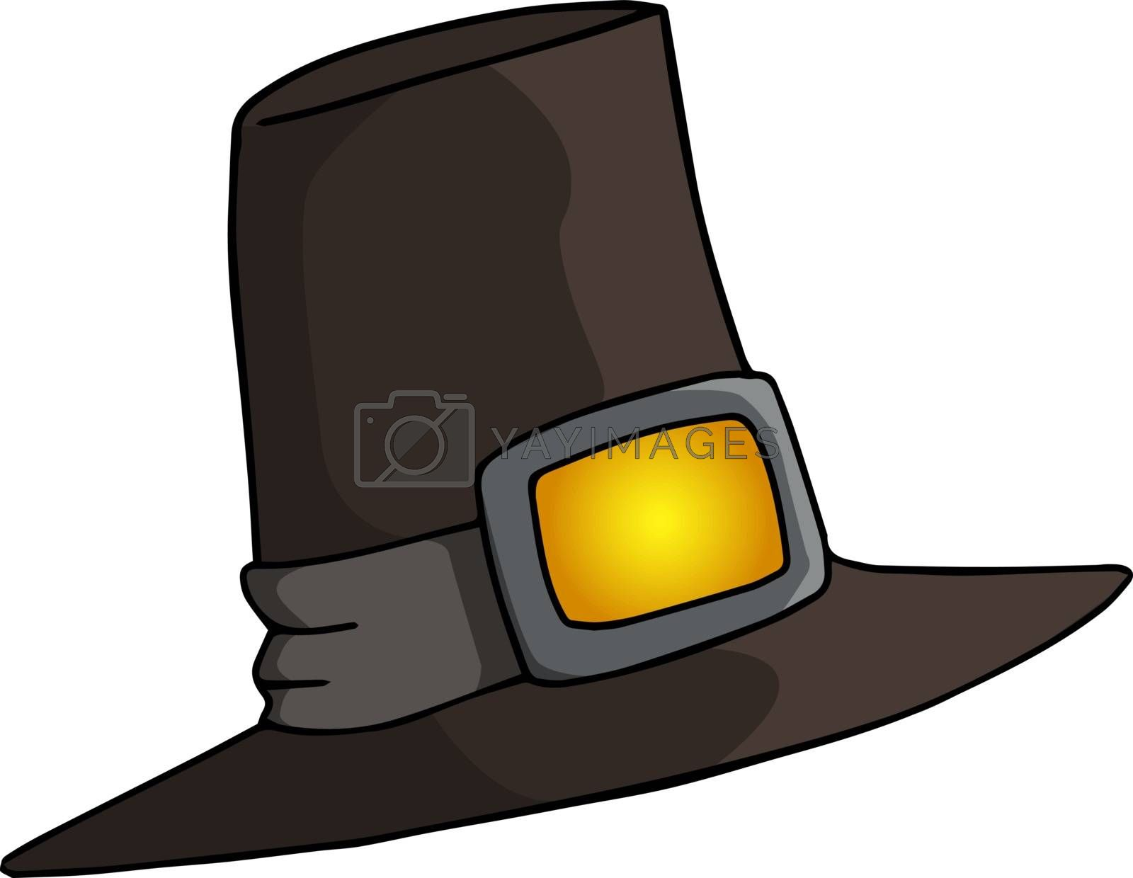 Long stylish black magician hat, illustration, vector on white b by Morphart